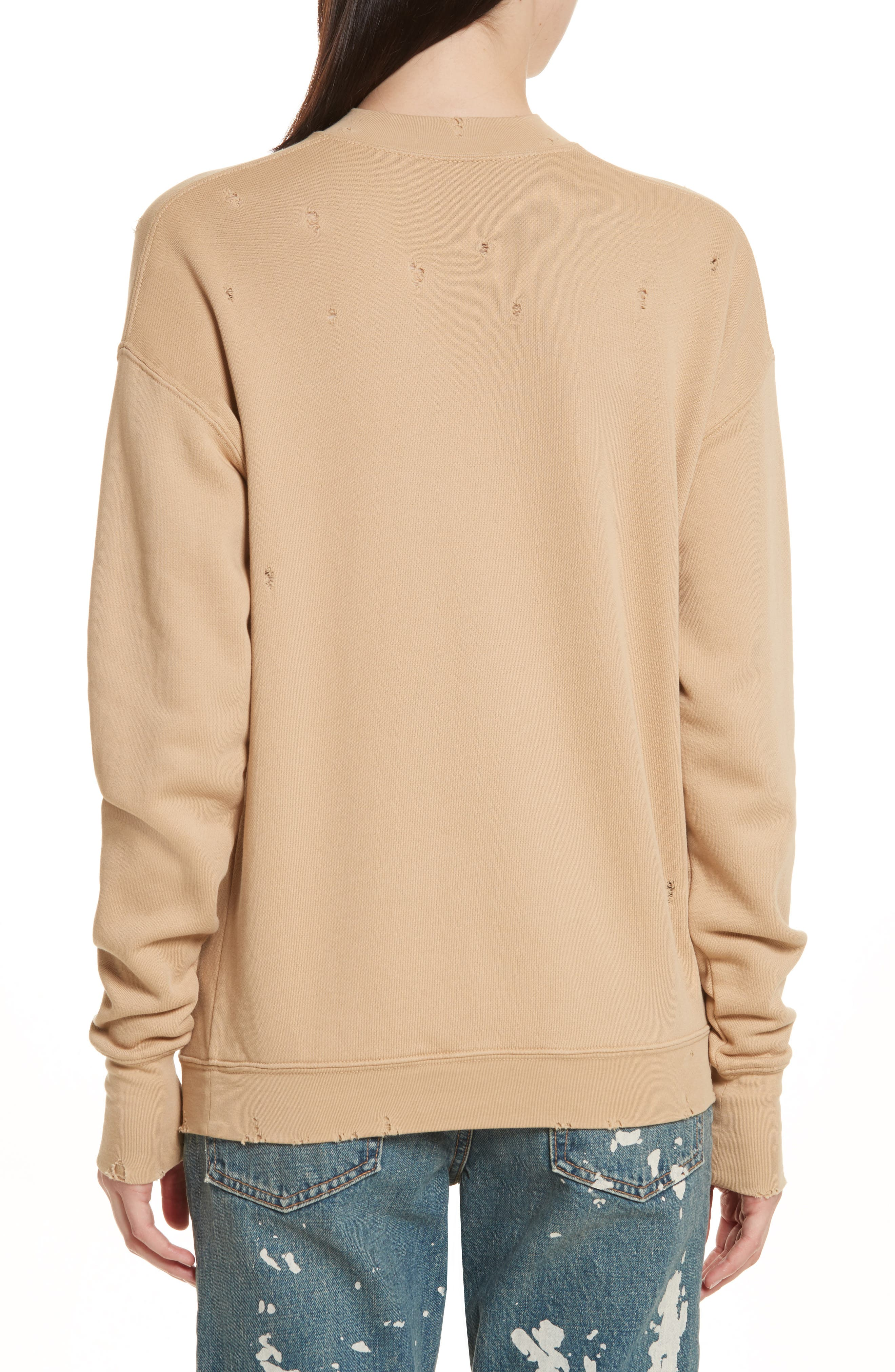 Slash Neck Destroyed Sweatshirt,                             Alternate thumbnail 2, color,                             291
