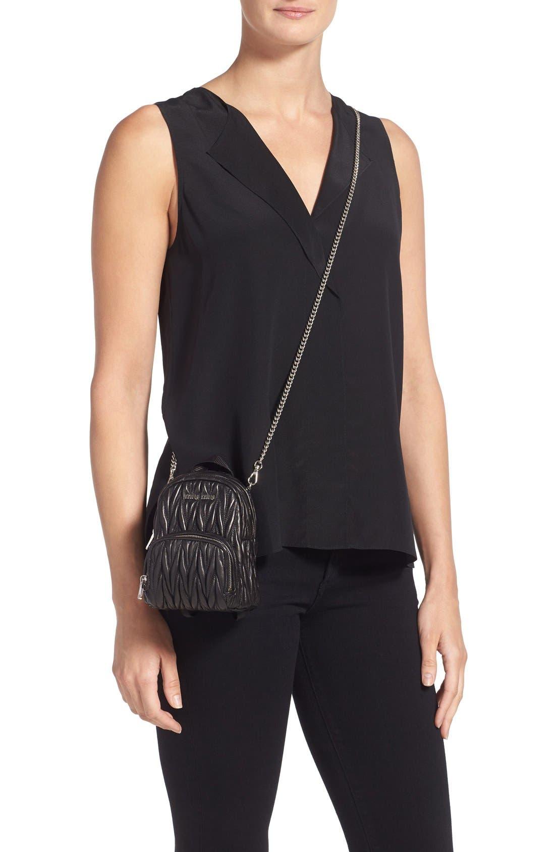 Micro Matelassé Leather Backpack,                             Alternate thumbnail 2, color,                             001