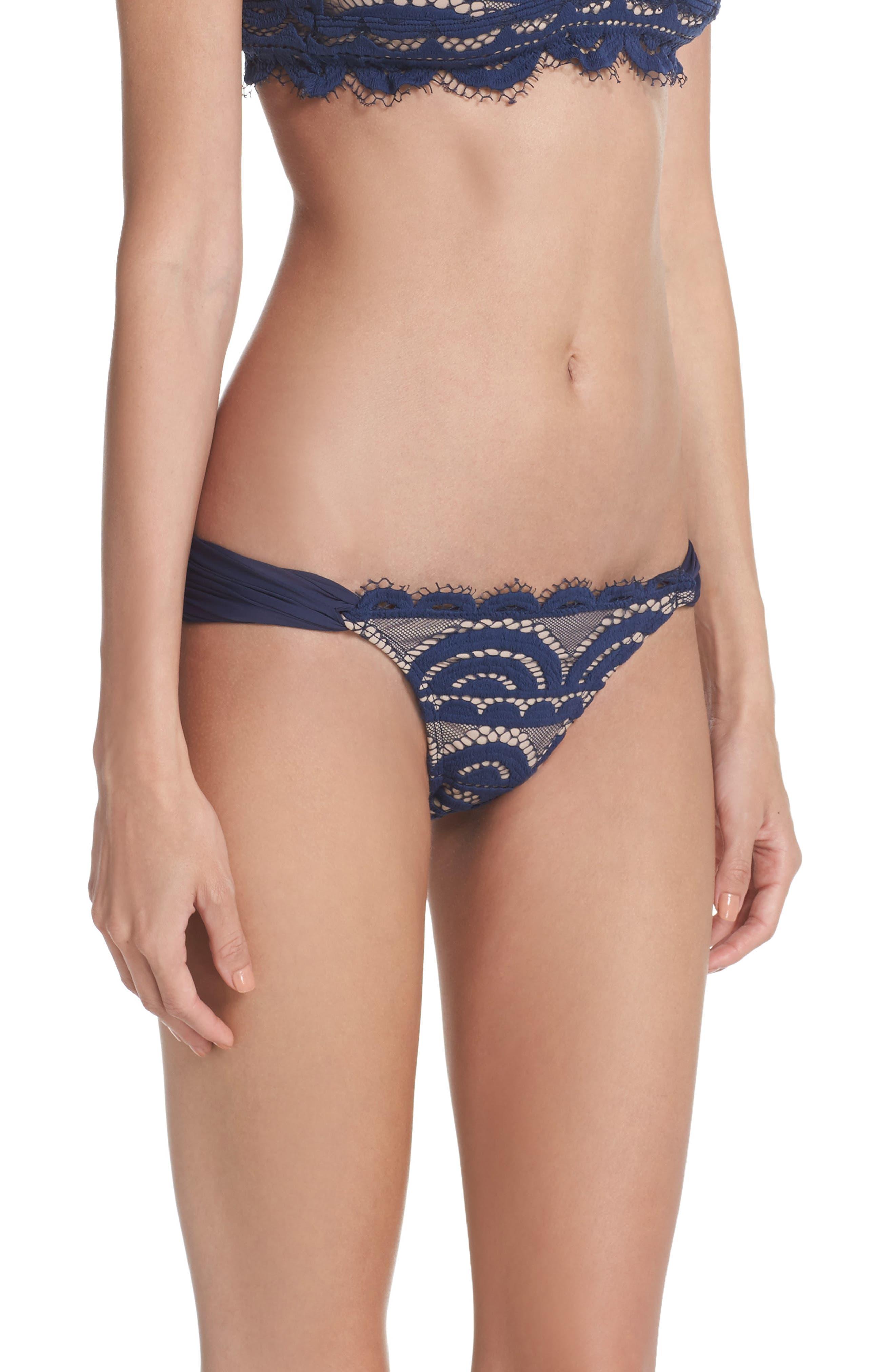 Lace Fanned Teeny Bikini Bottoms,                             Alternate thumbnail 3, color,                             413