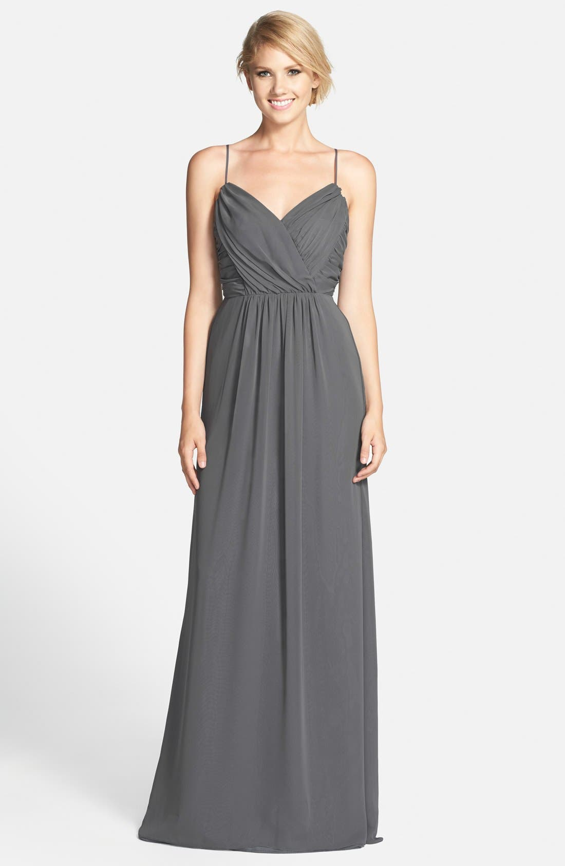 JIM HJELM OCCASIONS Draped V-Neck A-Line Chiffon Gown, Main, color, 025