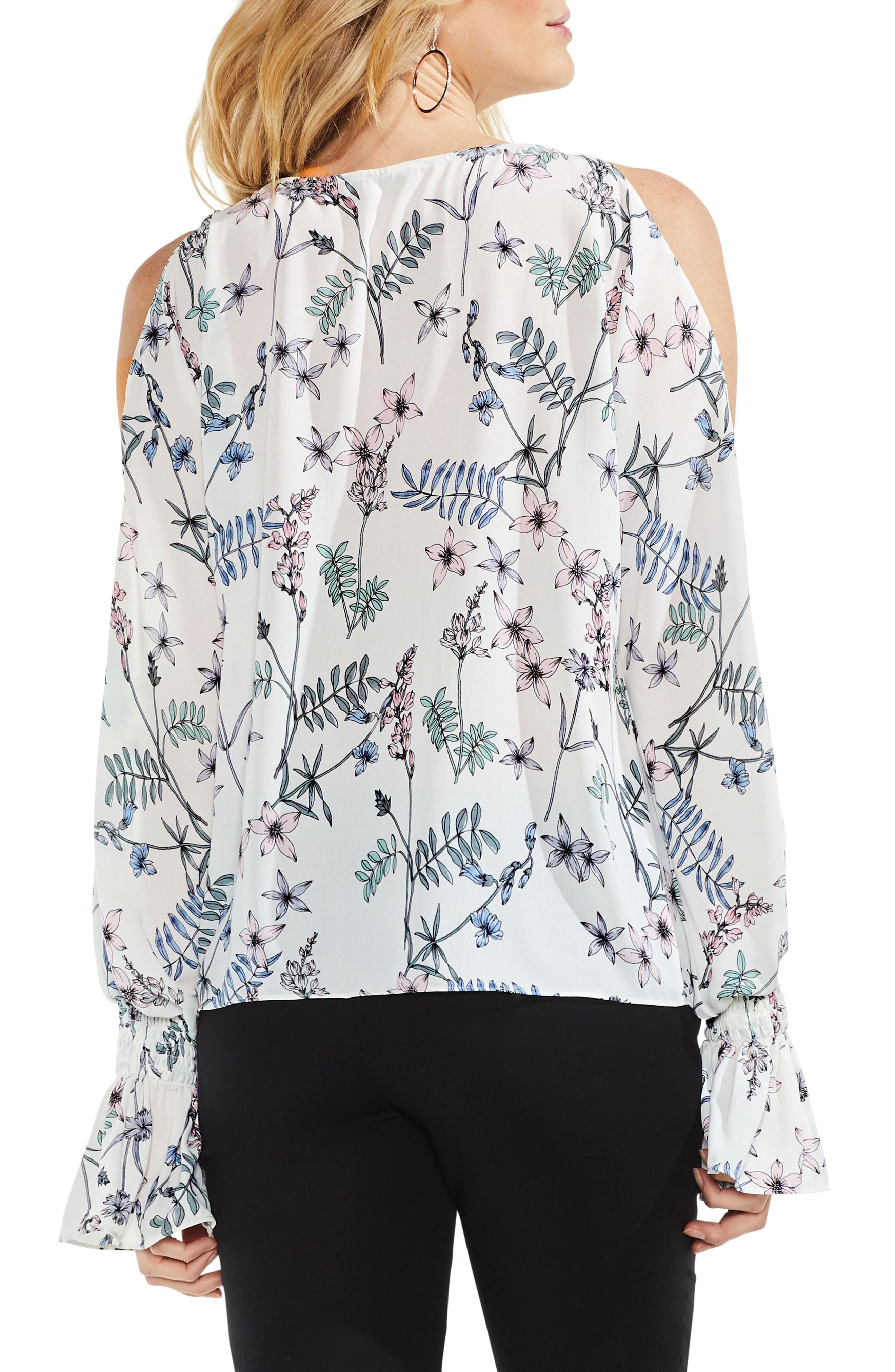Flare Cuff Cold Shoulder Floral Top,                             Alternate thumbnail 4, color,