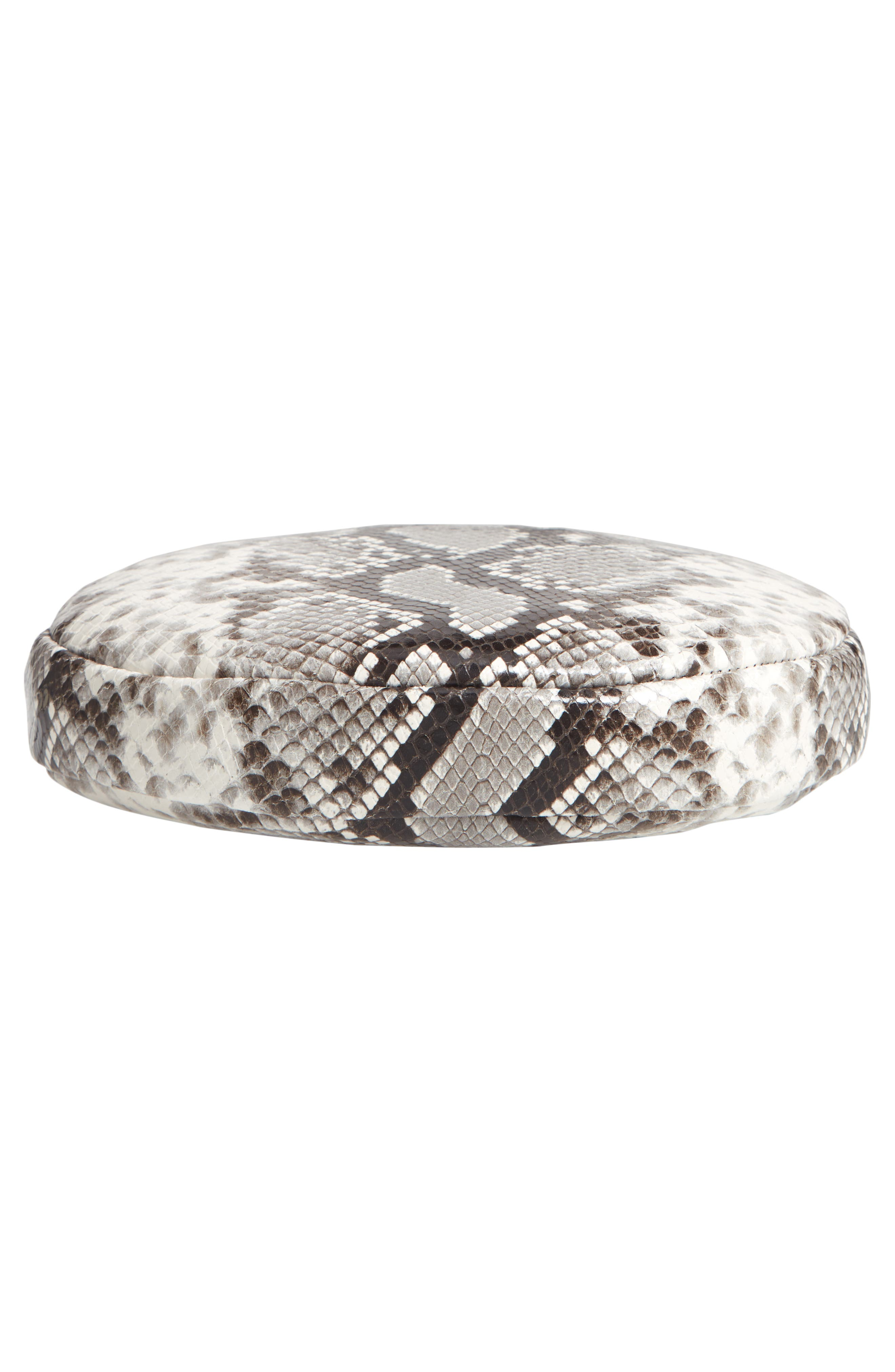 Python Embossed Leather Circle Clutch,                             Alternate thumbnail 6, color,                             001