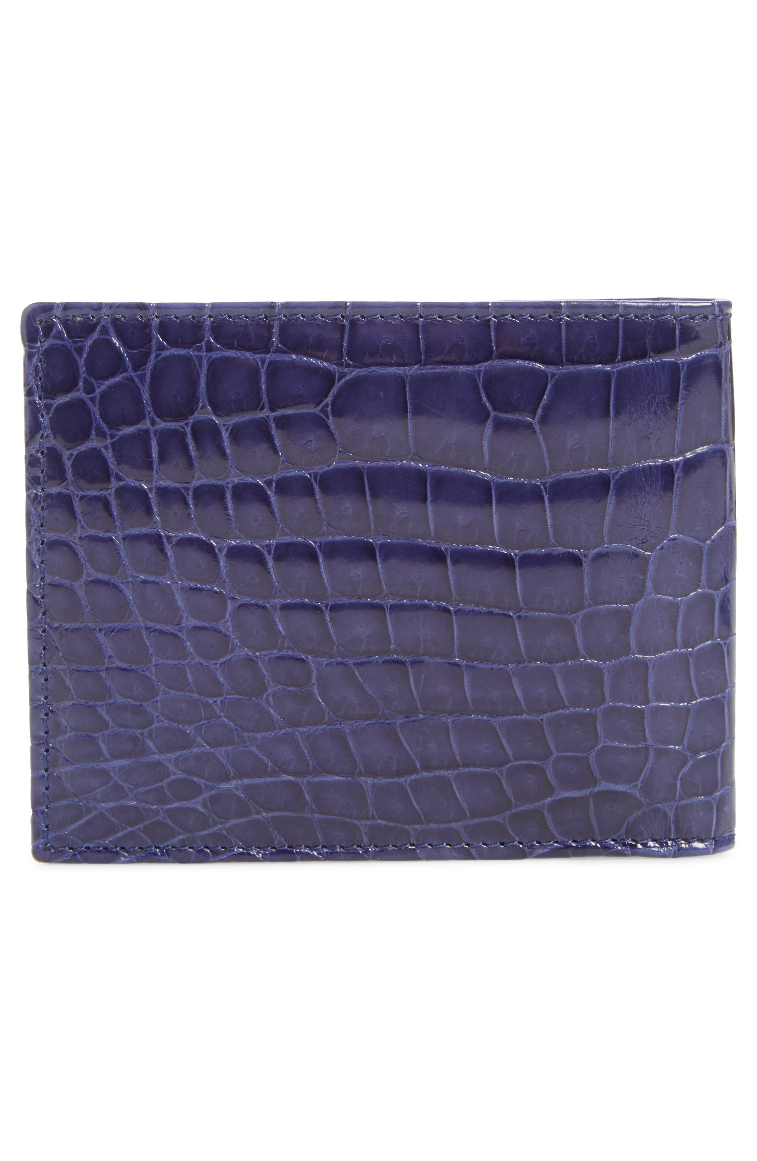 Alligator Leather Bifold Wallet,                             Alternate thumbnail 3, color,                             JEANS