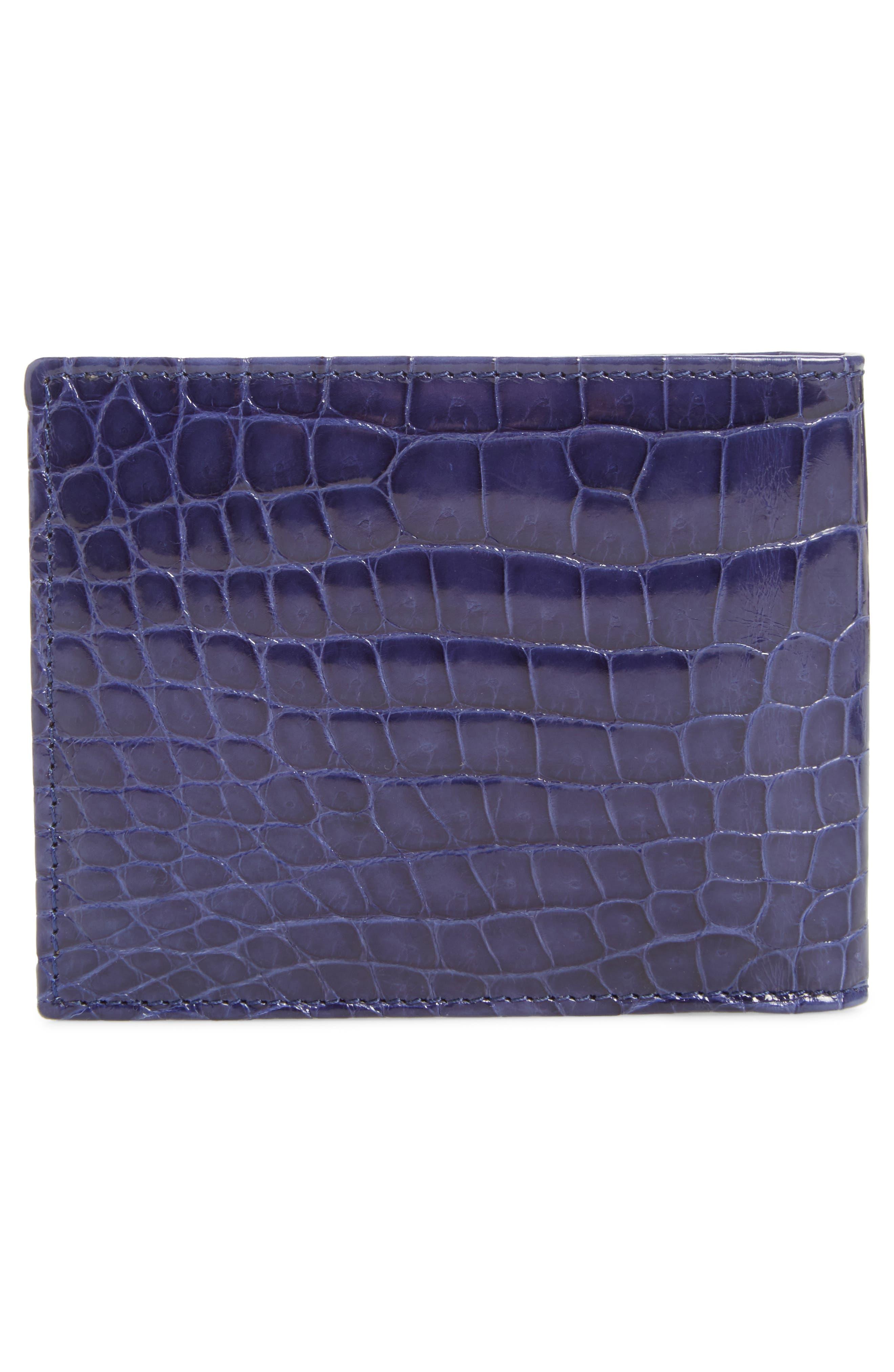 MEZLAN,                             Alligator Leather Bifold Wallet,                             Alternate thumbnail 3, color,                             JEANS