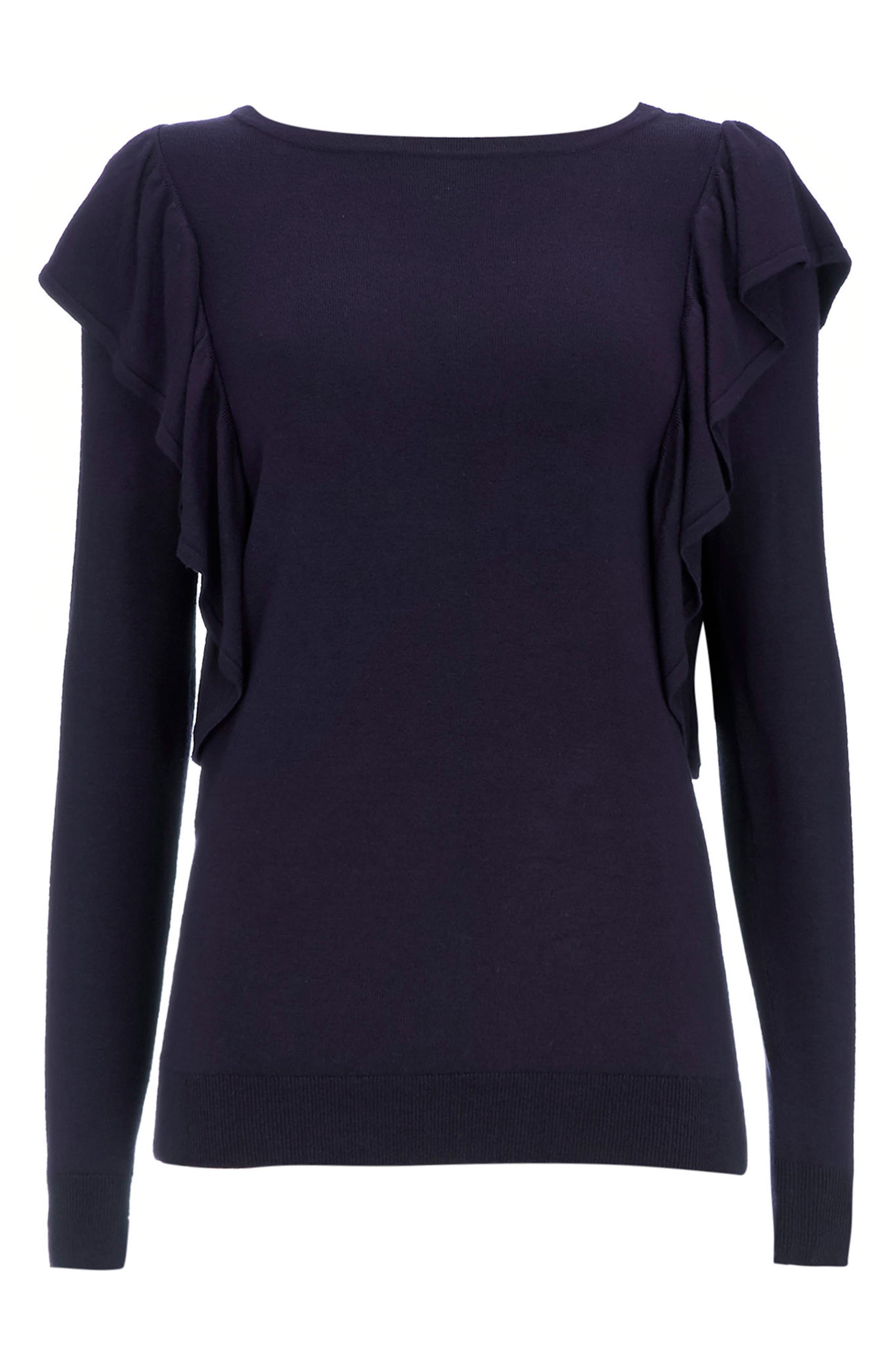 Long Sleeve Ruffle Shoulder Pullover,                             Alternate thumbnail 8, color,