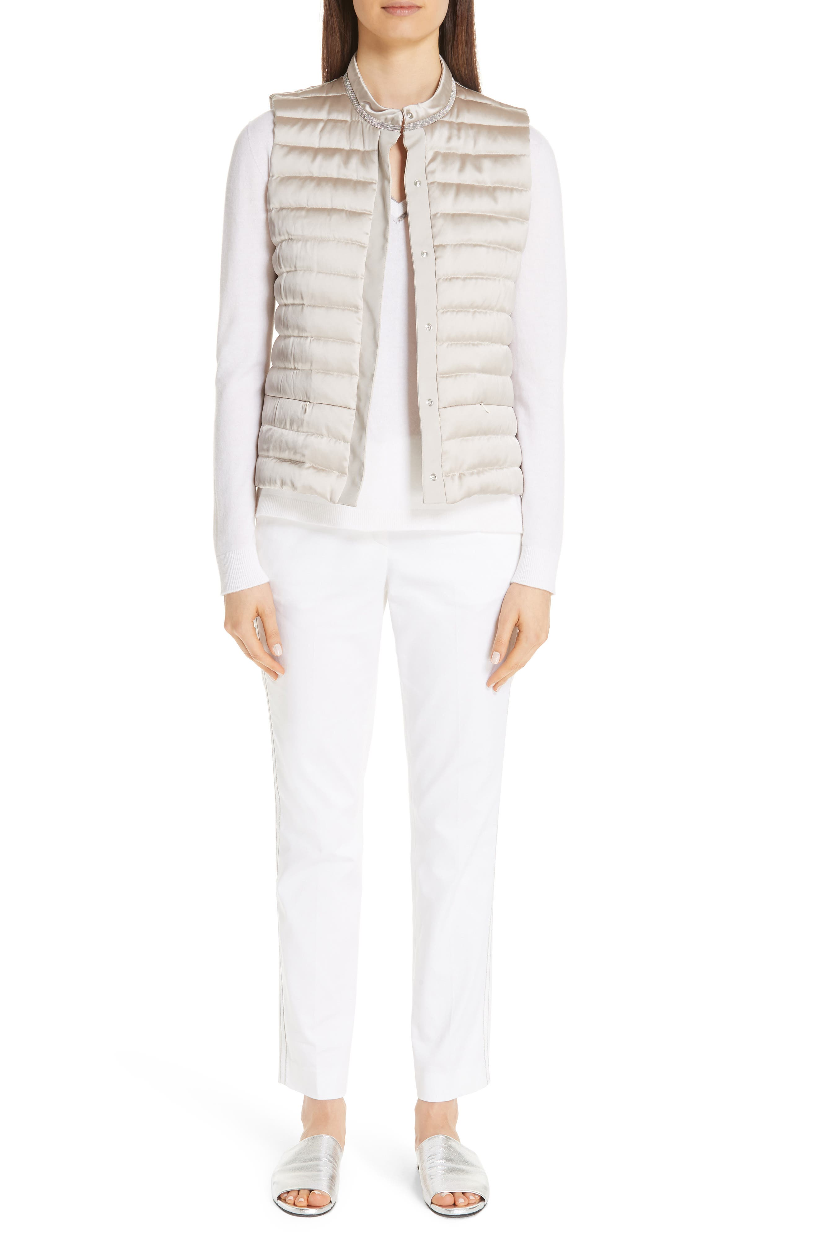 Quilted Satin Vest Front,                             Alternate thumbnail 8, color,                             CHAMPAGNE