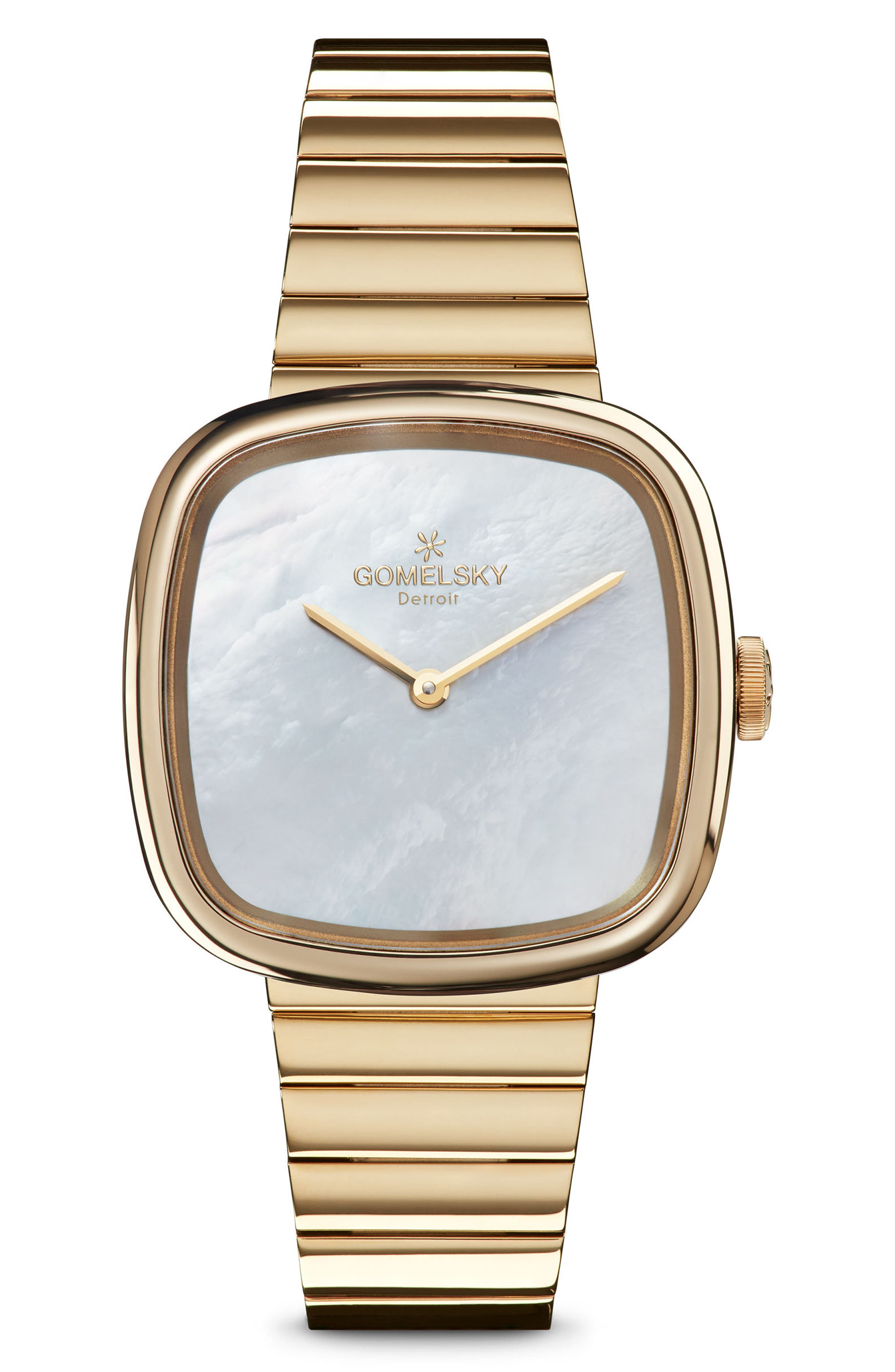 GOMELSKY The Eppie Sneed Mini Bracelet Watch, 32mm, Main, color, GOLD/ MOP GOLD