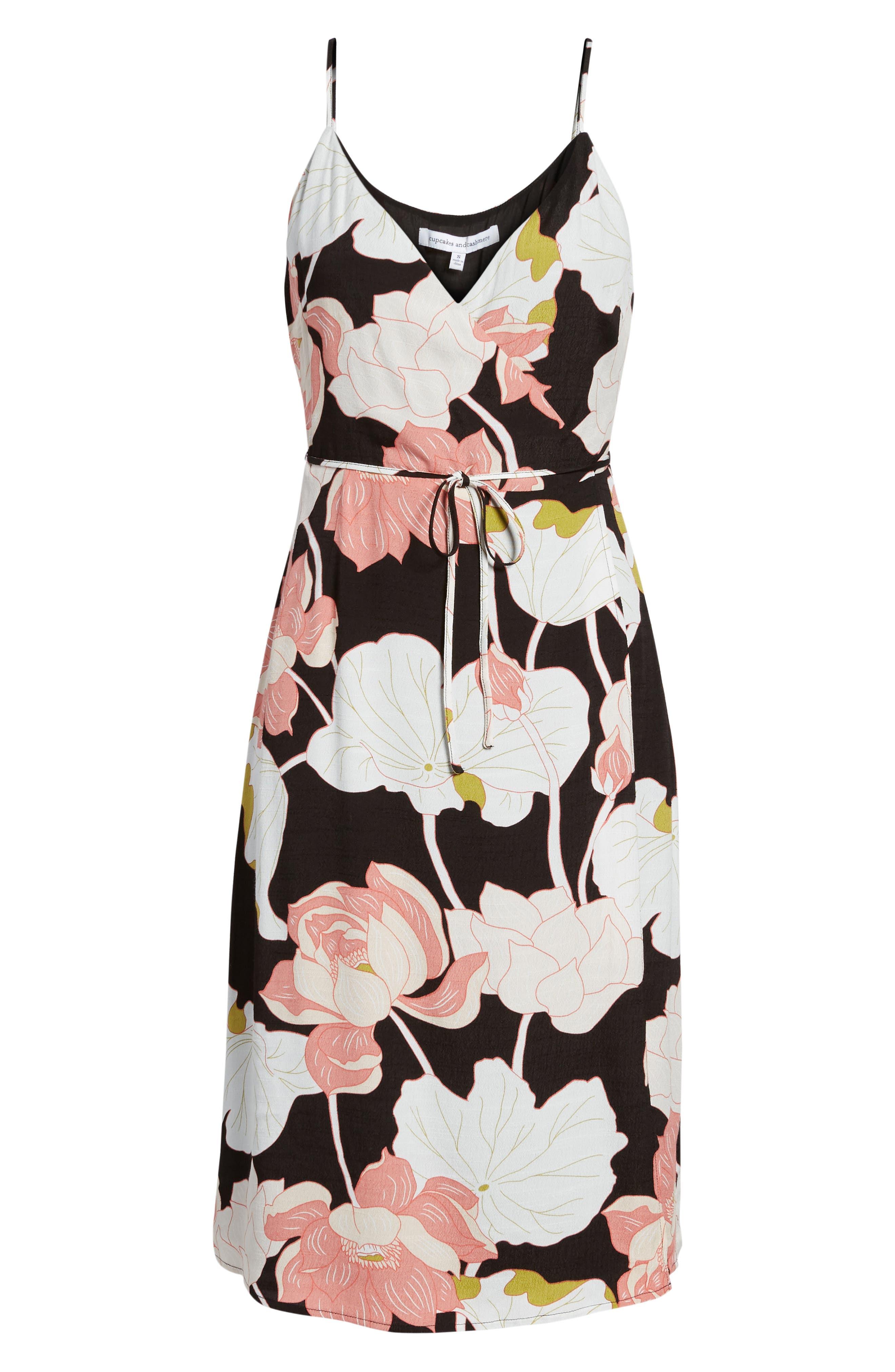Chayene Water Lilies Wrap Dress,                             Alternate thumbnail 6, color,                             BLACK