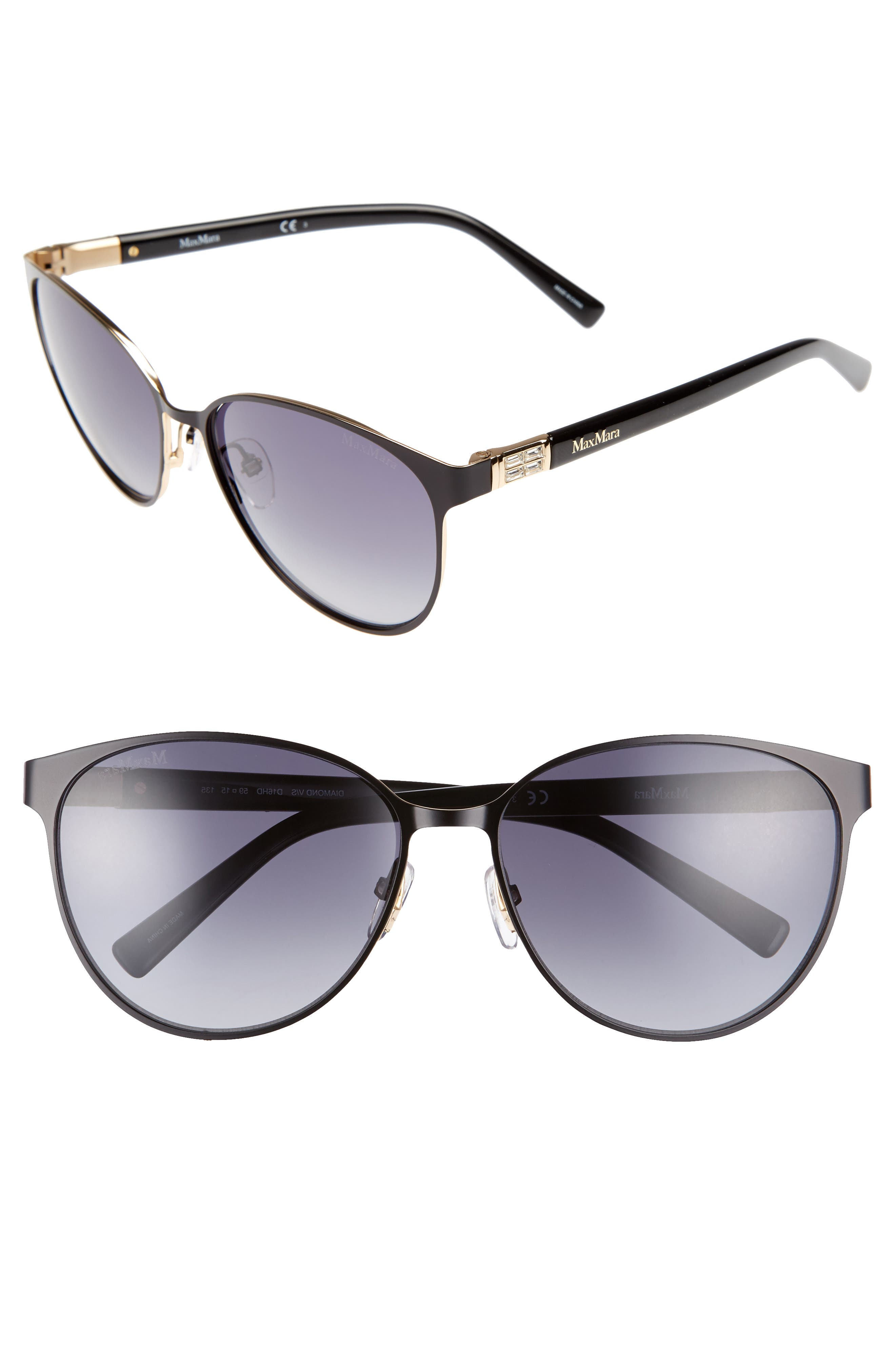 Diamov 59mm Gradient Cat Eye Sunglasses,                             Main thumbnail 1, color,                             MATTE BLACK