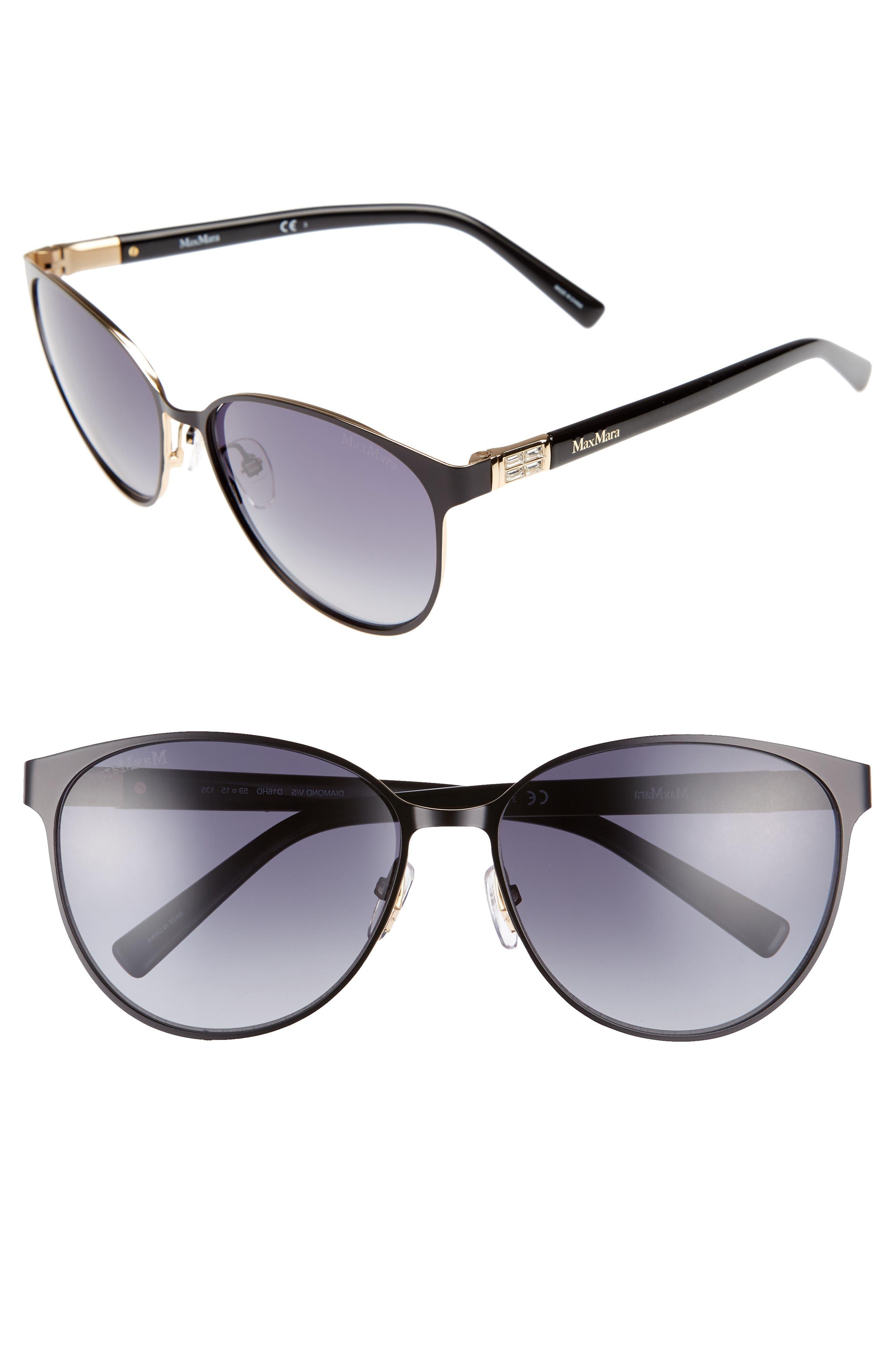 Diamov 59mm Gradient Cat Eye Sunglasses,                         Main,                         color, MATTE BLACK