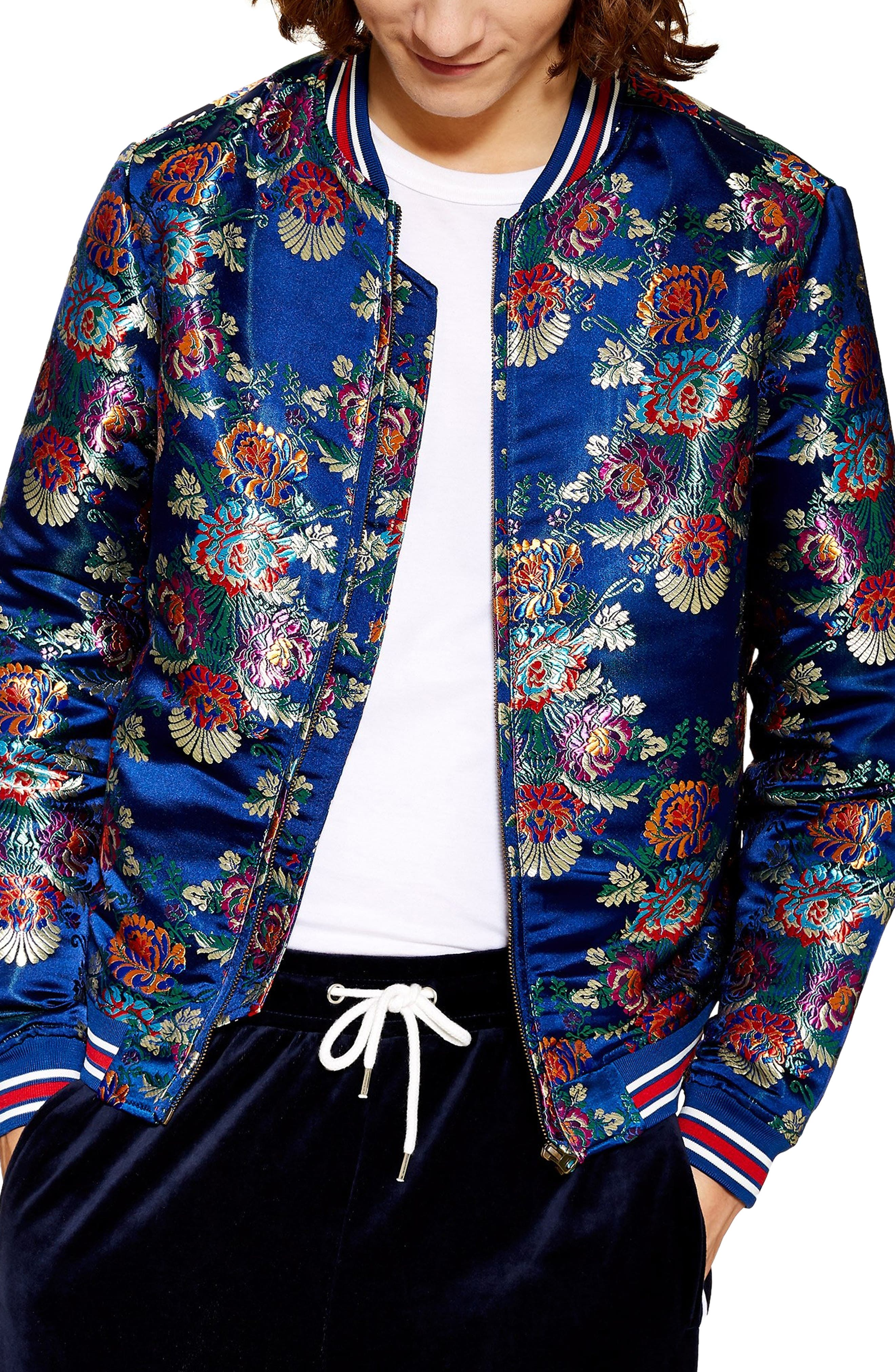Chandler Classic Bomber Jacket,                             Main thumbnail 1, color,                             NAVY MULTI