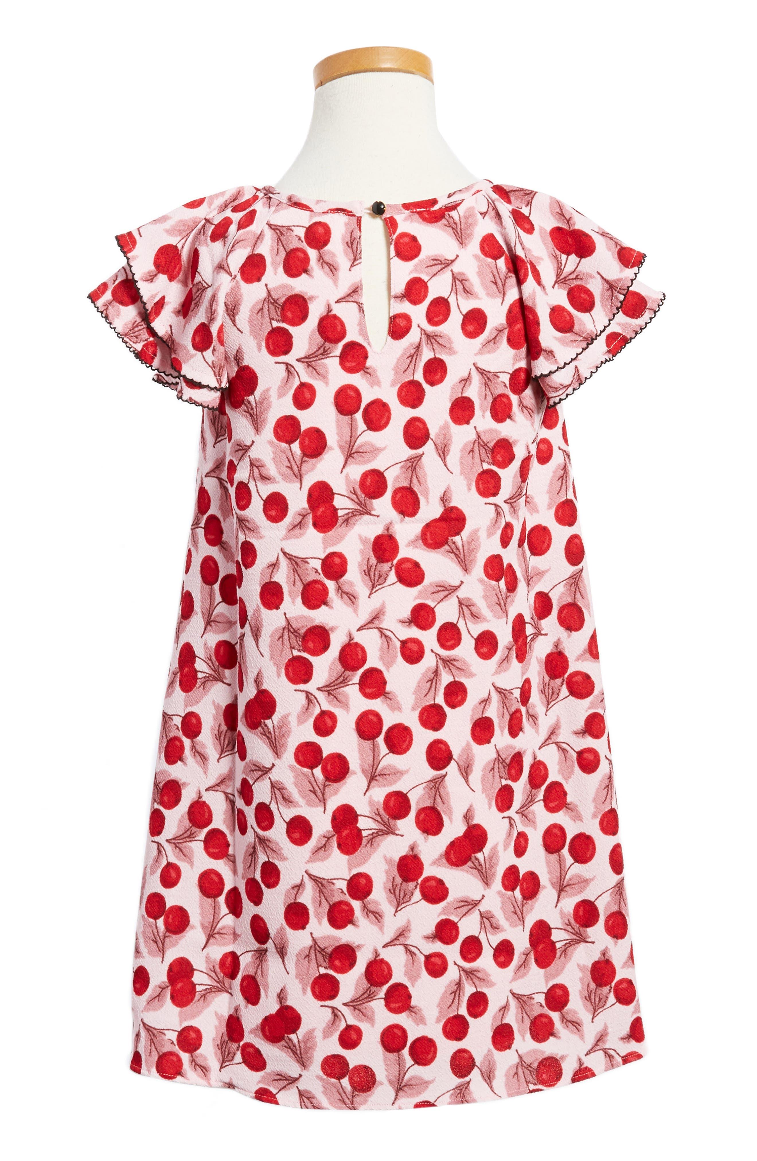 cherry print flutter sleeve dress,                             Alternate thumbnail 2, color,                             651