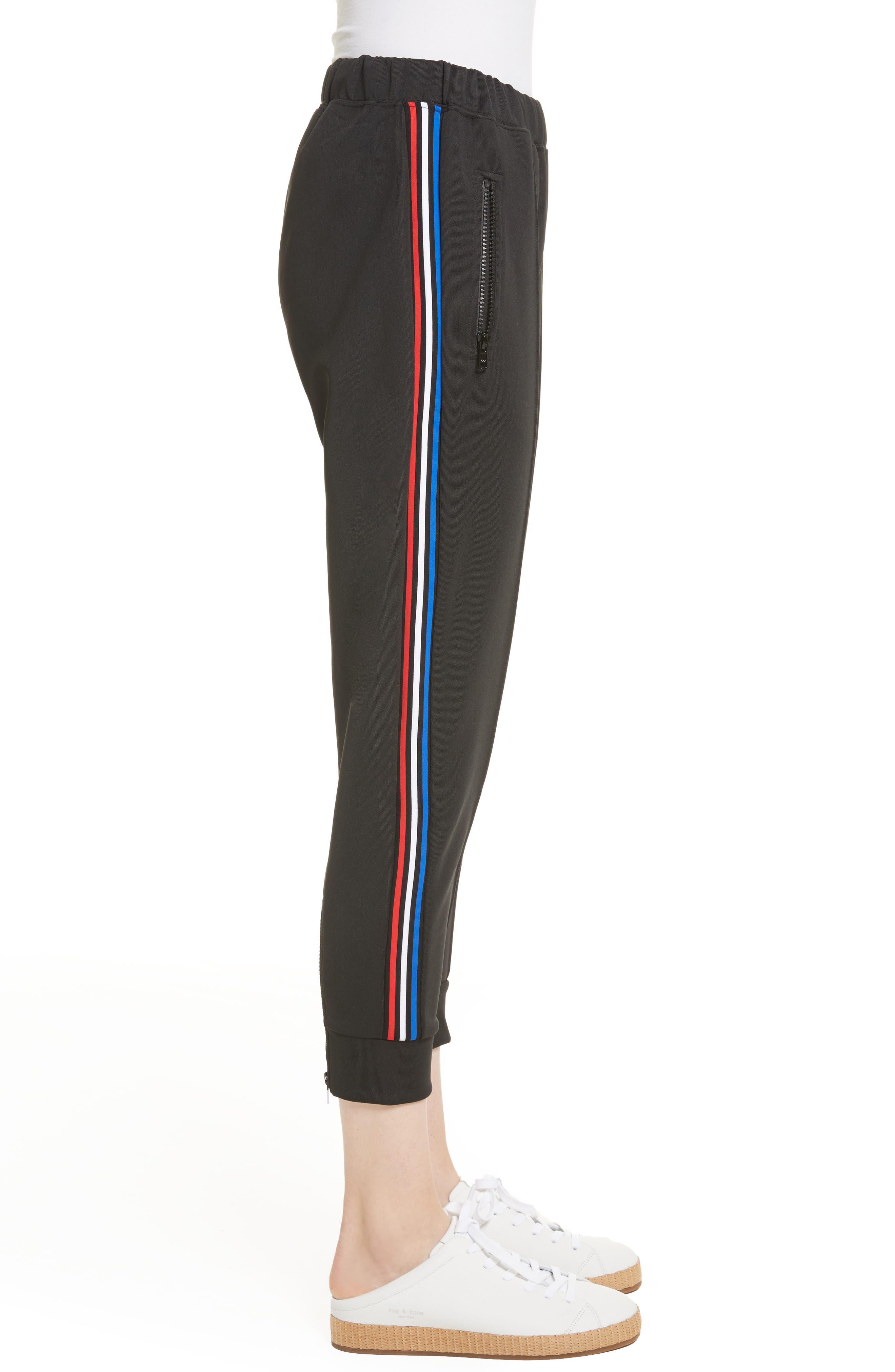 être cécile Stripe Crop Track Pants,                             Alternate thumbnail 3, color,                             001
