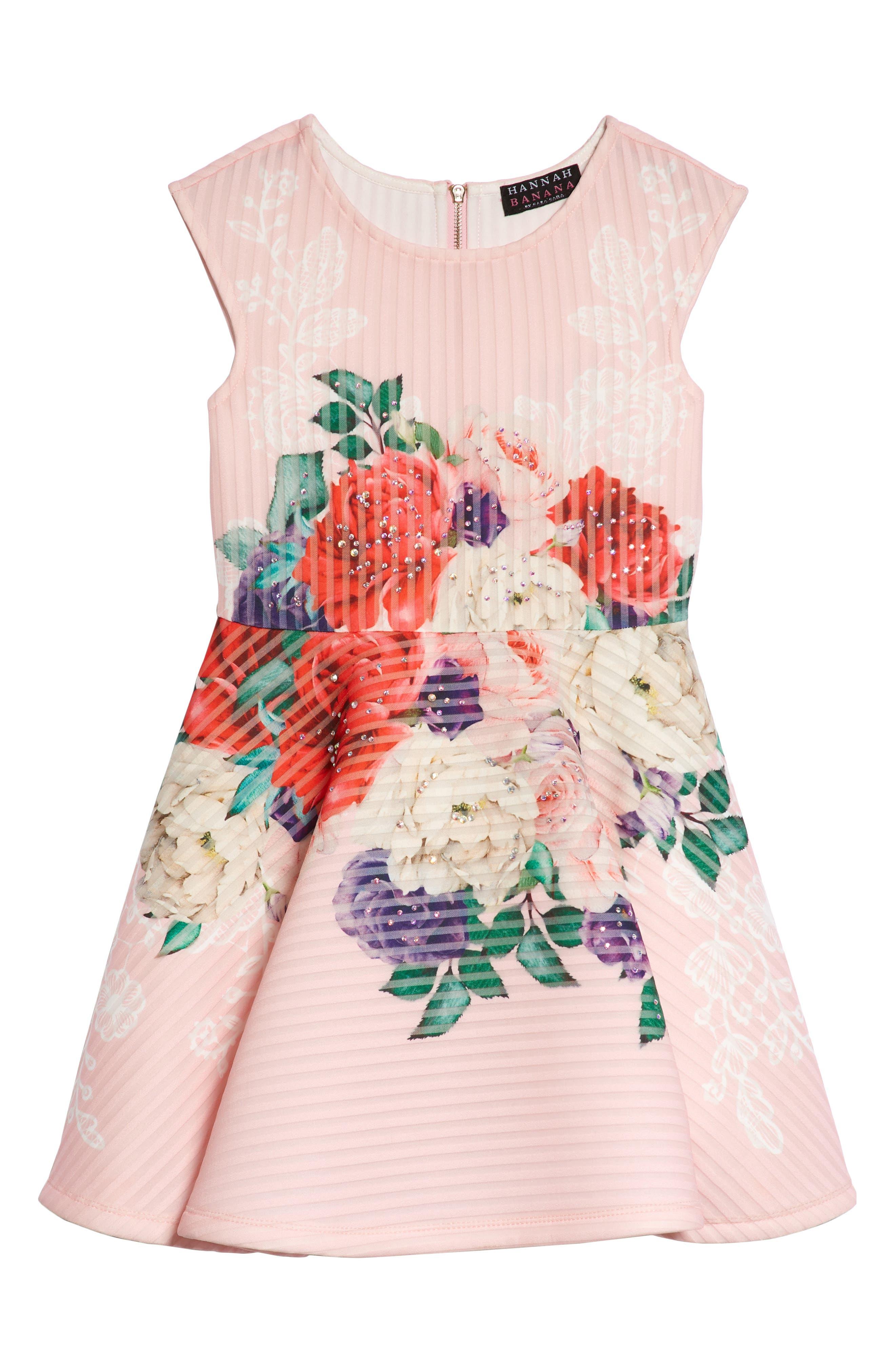 Floral Print Skater Dress,                             Main thumbnail 1, color,                             PINK MULTI