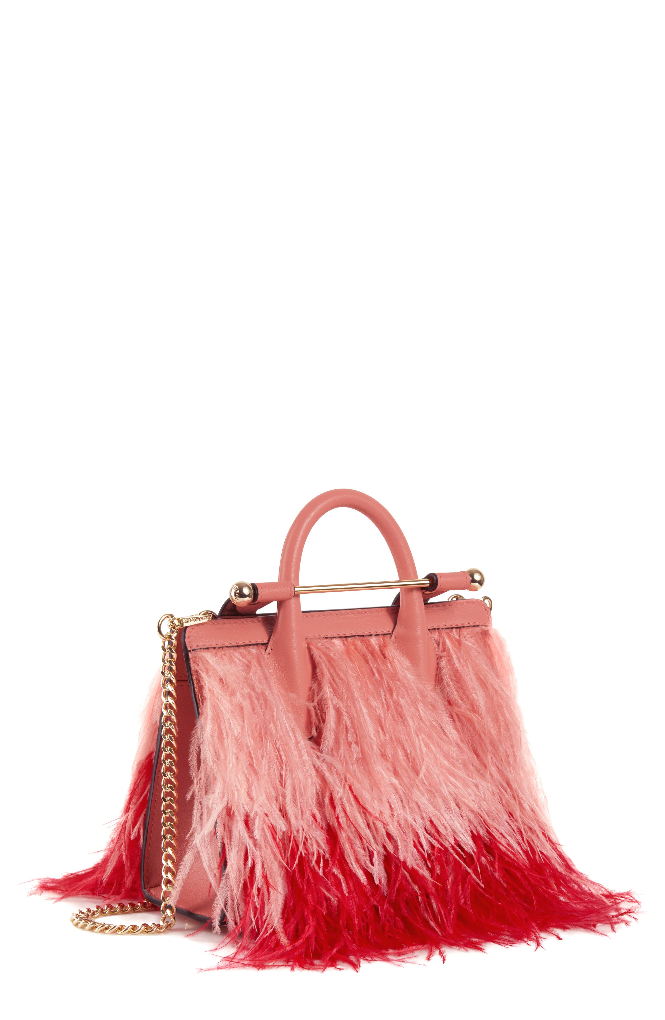 Nano Feather & Leather Tote, Main, color, SALMON/ RUBY