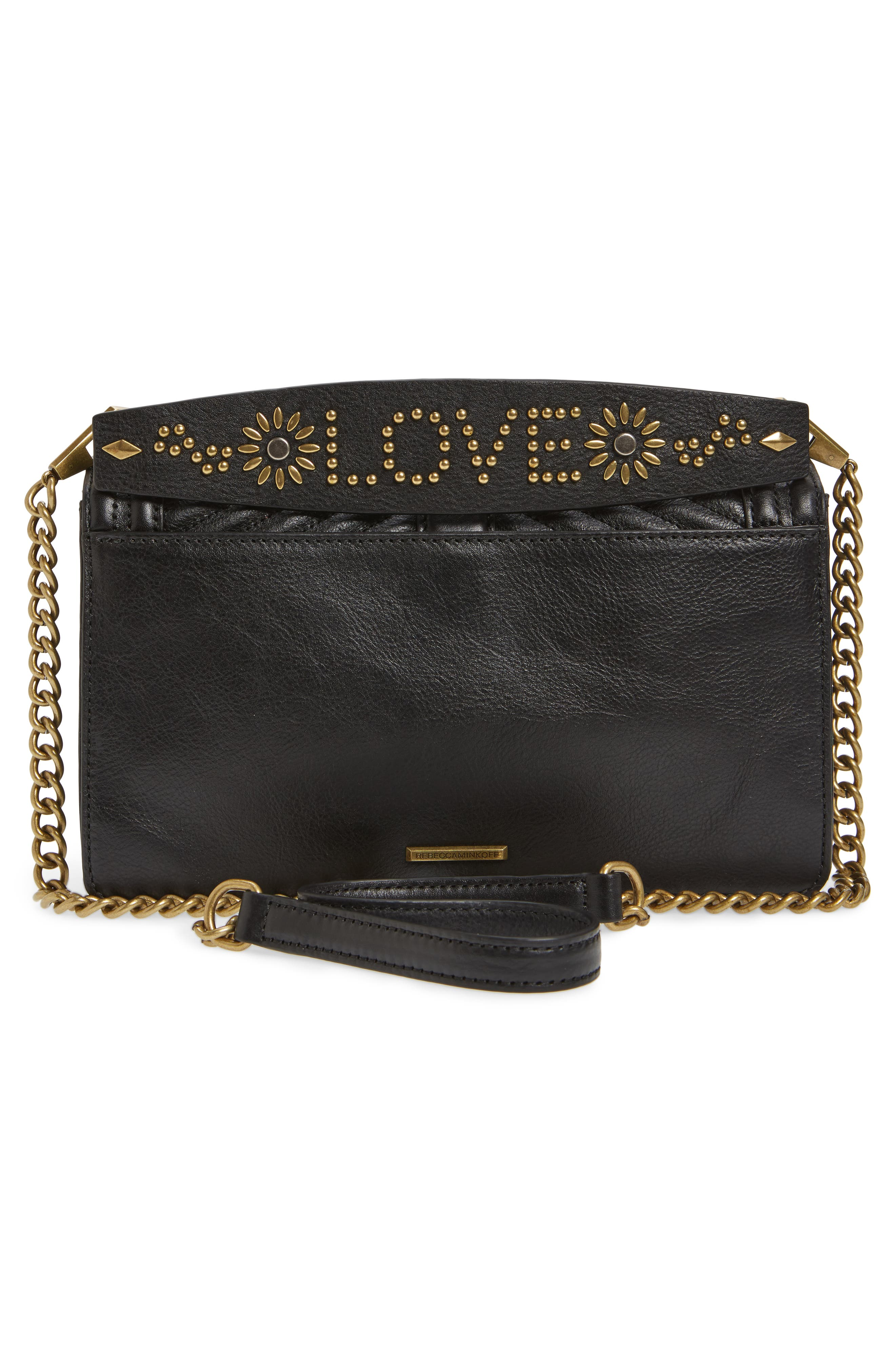 Love Studded Handle Crossbody Bag,                             Alternate thumbnail 3, color,                             001