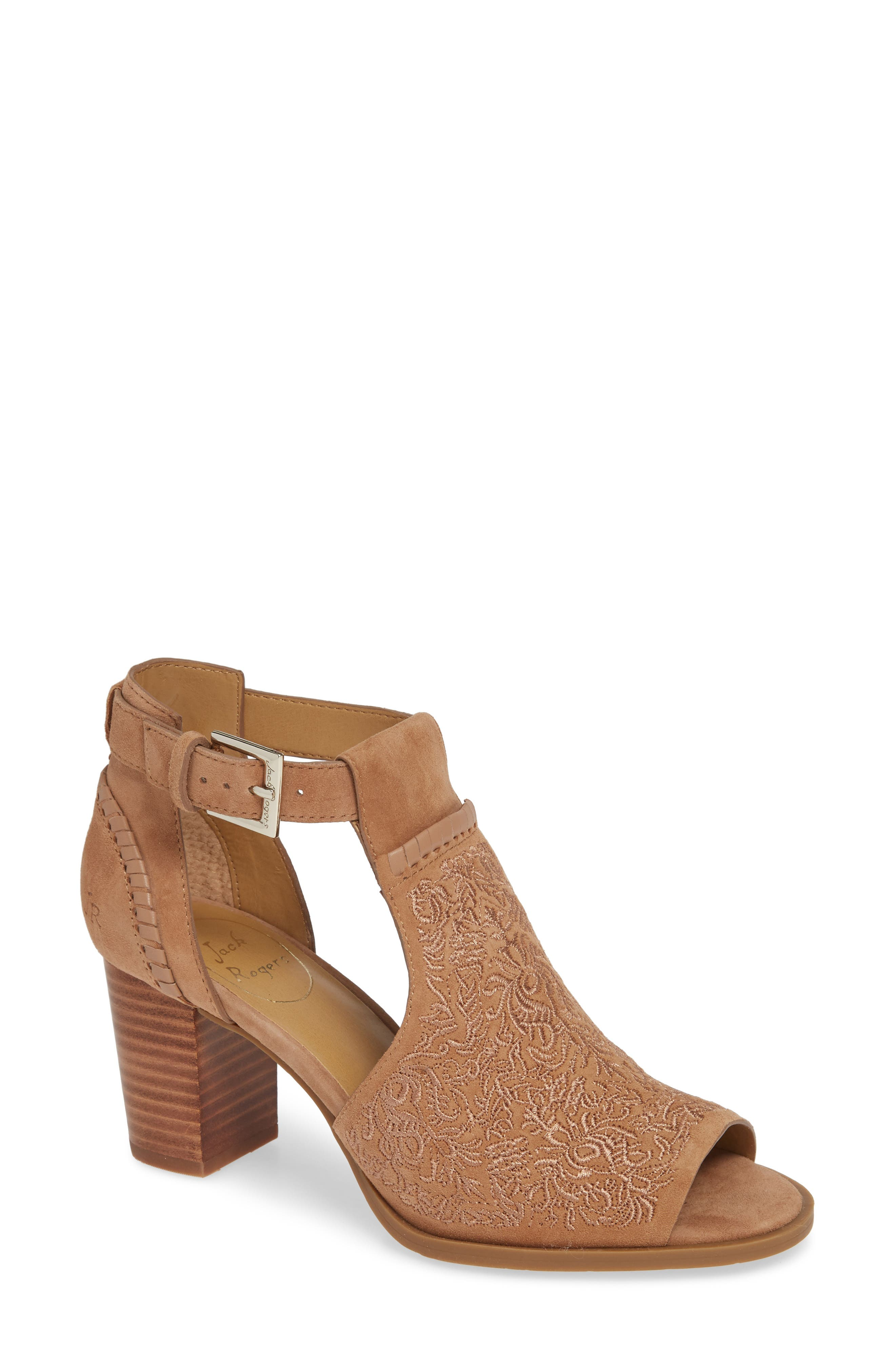 Cameron Block Heel Sandal,                             Main thumbnail 1, color,                             BROWN SUEDE