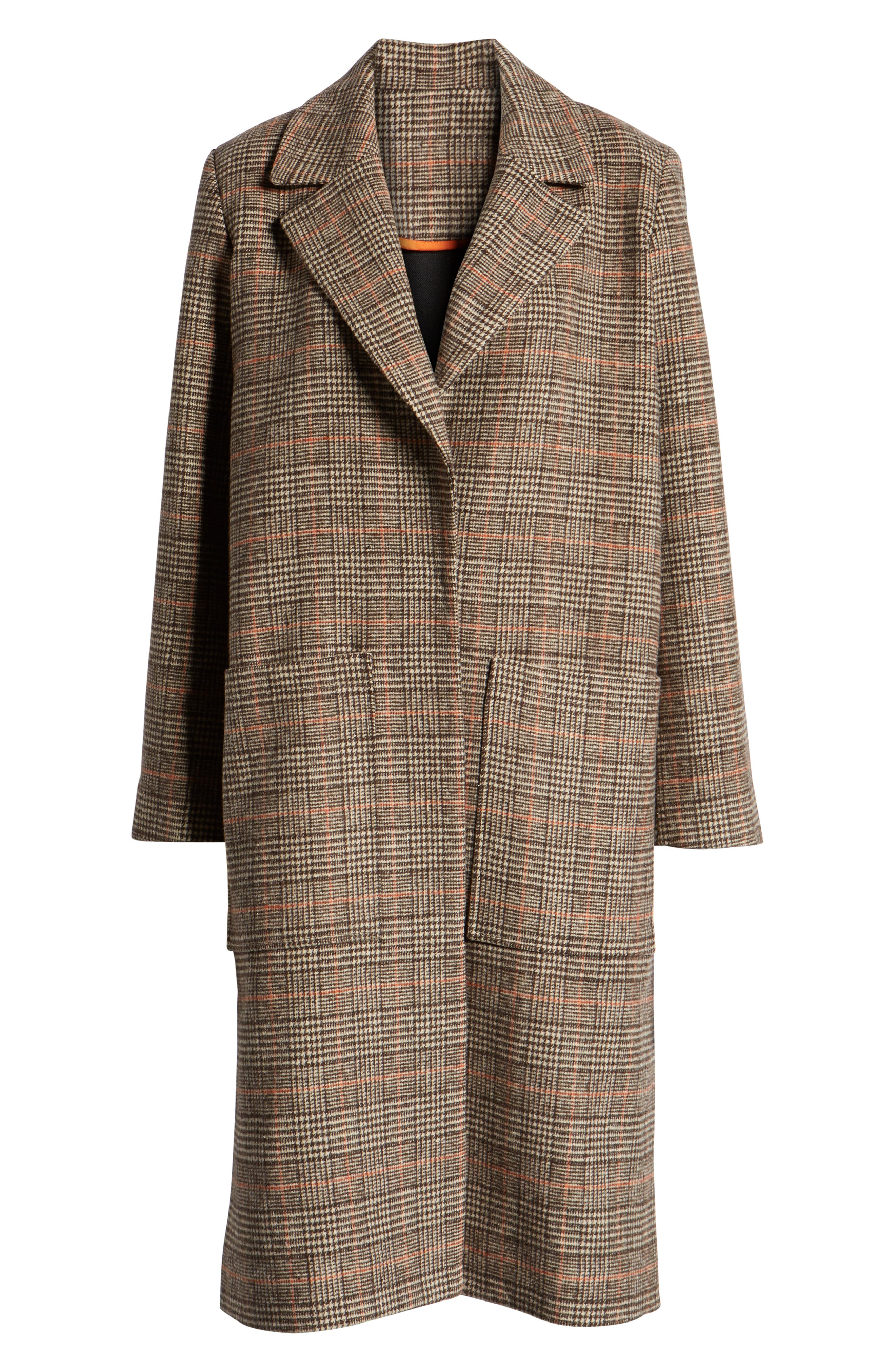 SOMETHING NAVY,                             Patch Pocket Plaid Coat,                             Alternate thumbnail 6, color,                             210