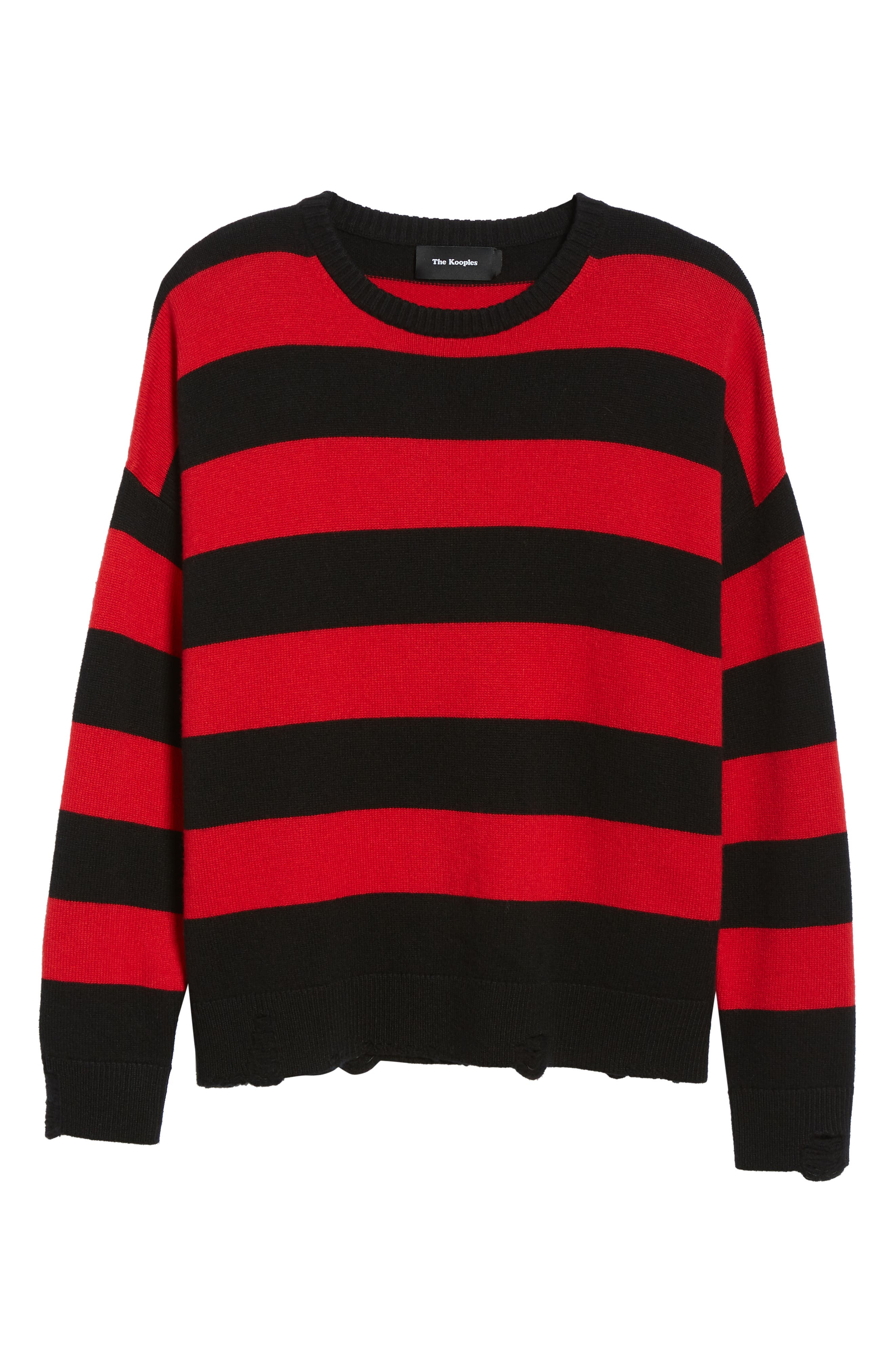 Shredded Stripe Sweater,                             Alternate thumbnail 6, color,                             RED/ BLACK
