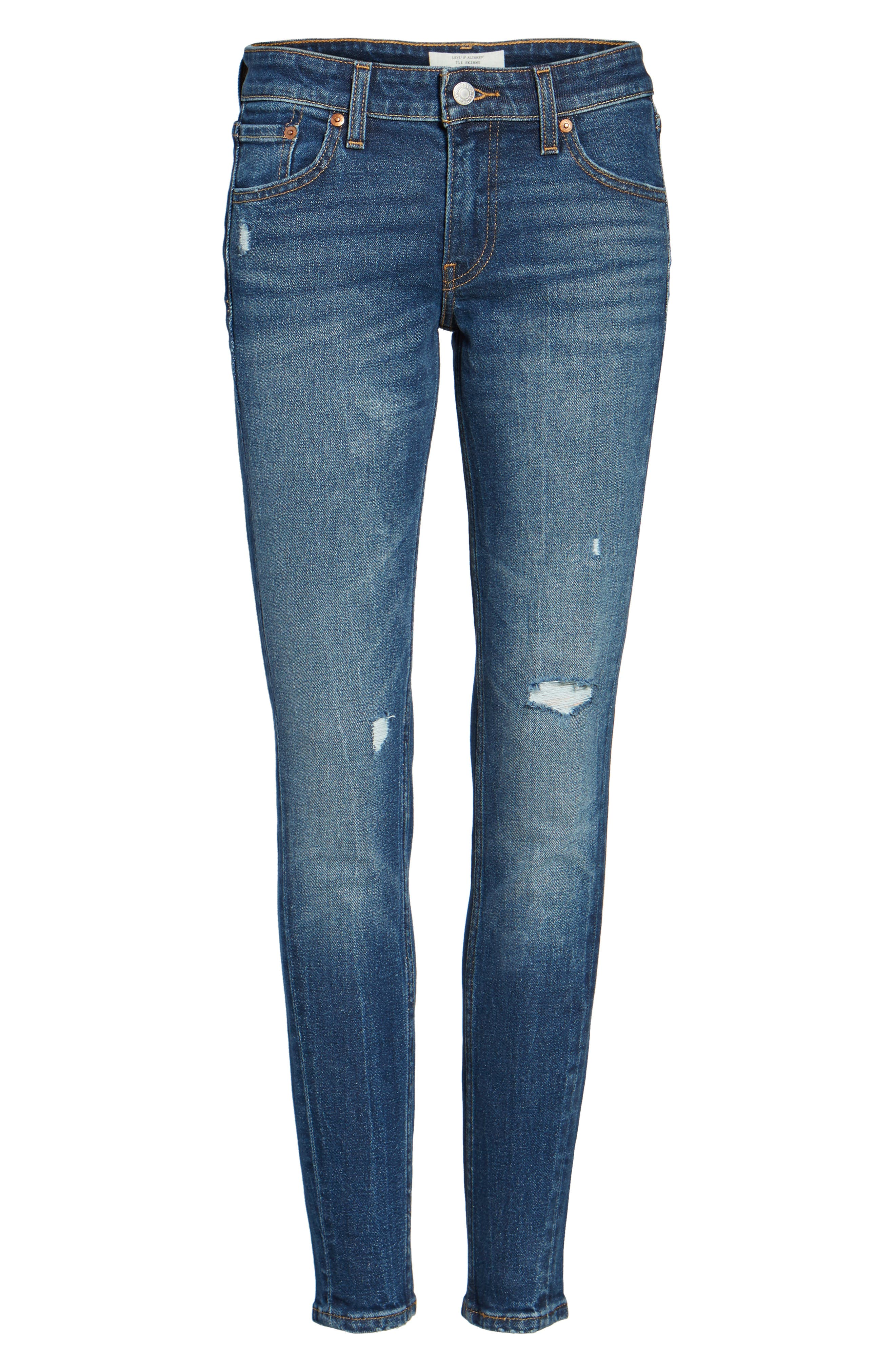 711 Ripped Skinny Jeans,                             Alternate thumbnail 6, color,                             421