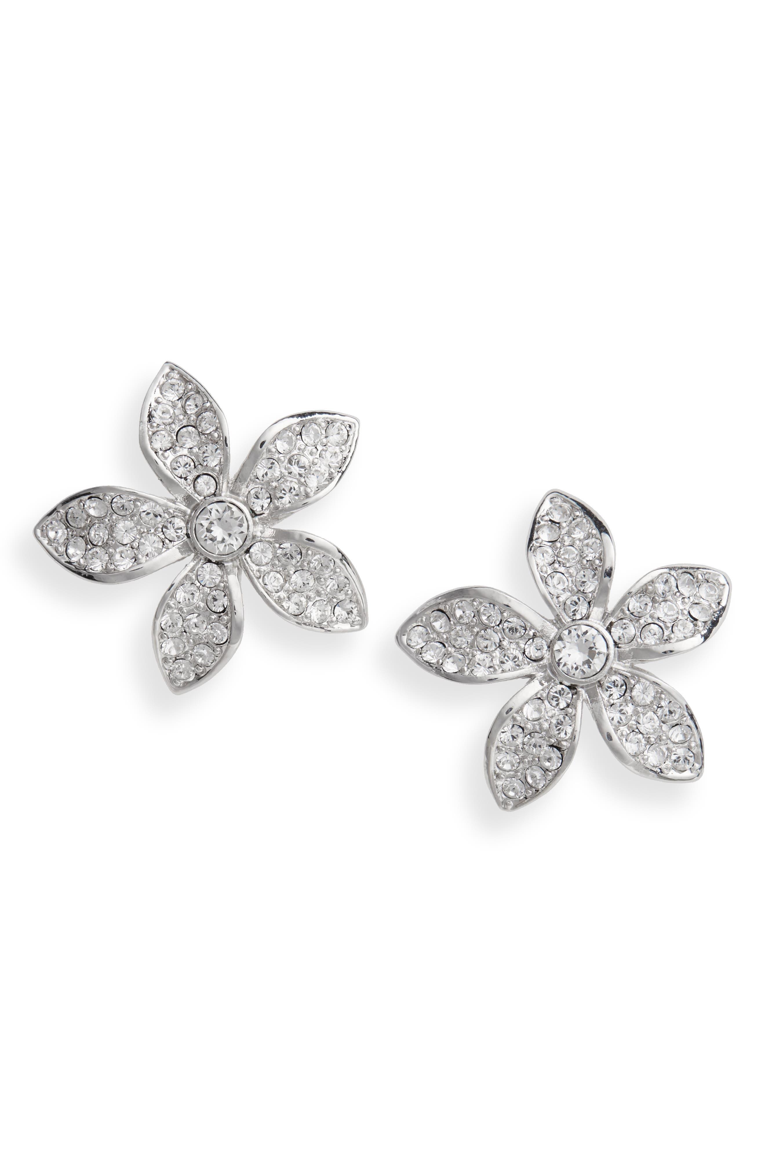 Floral Crystal Stud Earrings,                             Alternate thumbnail 2, color,