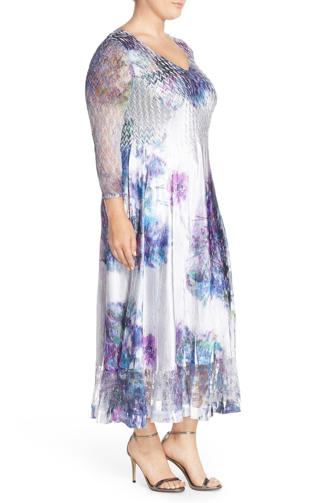 Print Charmeuse & Chiffon A-Line Long Dress,                             Alternate thumbnail 4, color,                             908