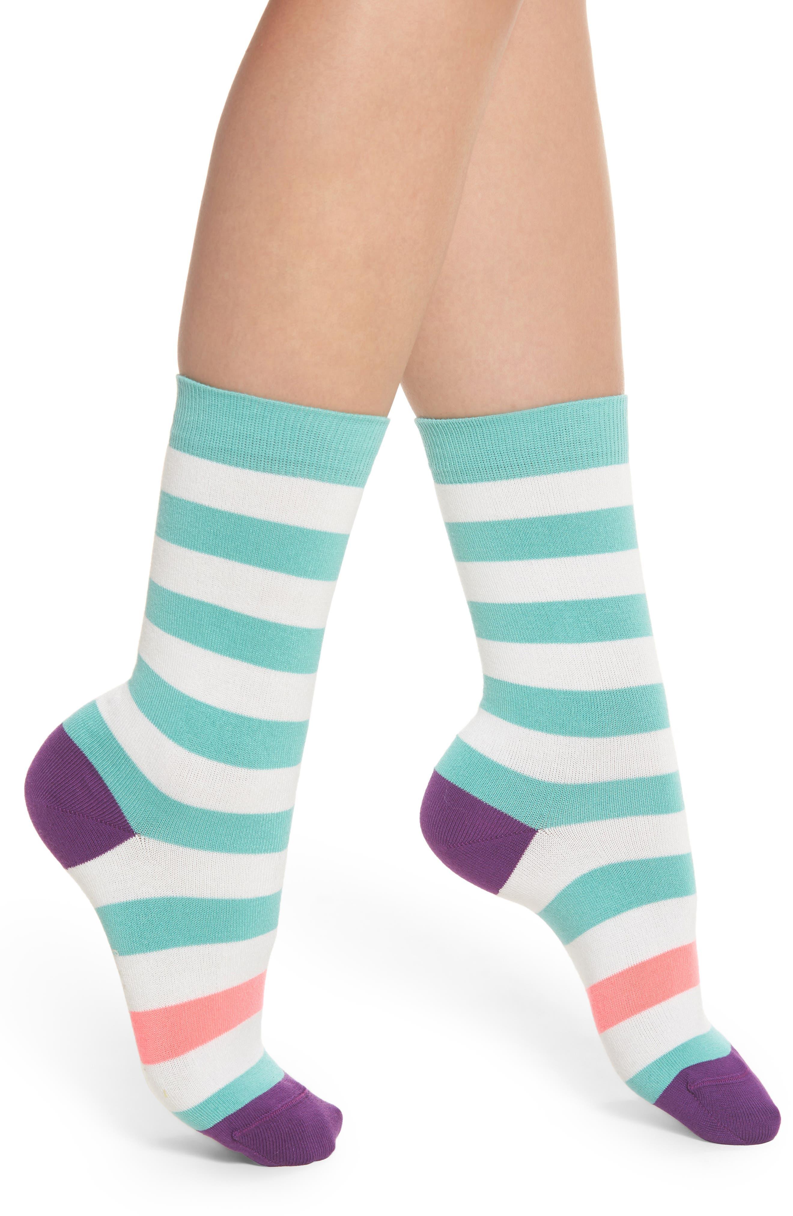 Fearne Stripe Crew Socks,                             Main thumbnail 1, color,                             440