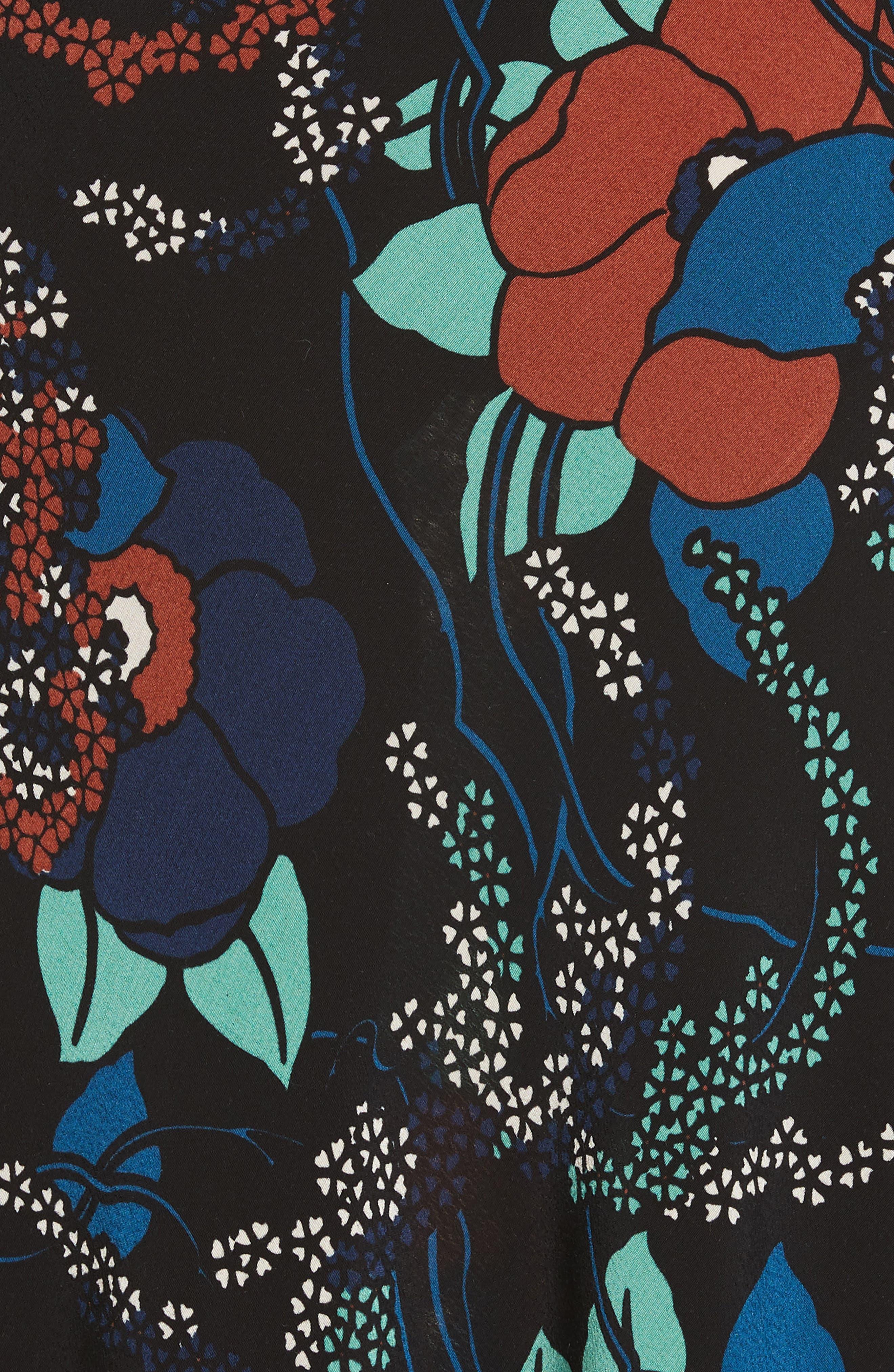 Abelia Floral Plunge Back Silk Dress,                             Alternate thumbnail 6, color,                             NOIR