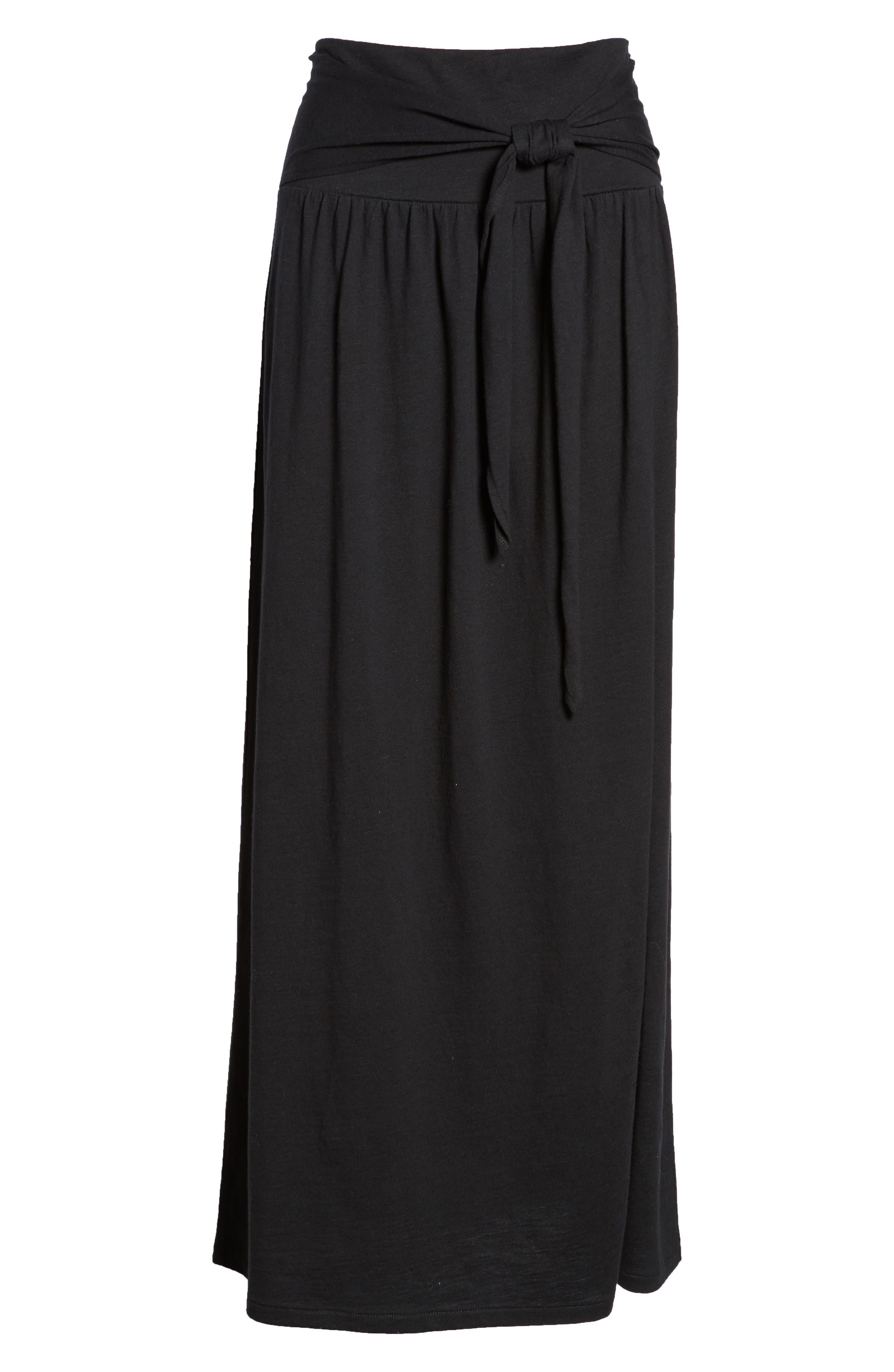 Tie Front Cotton Maxi Skirt,                             Alternate thumbnail 6, color,                             001