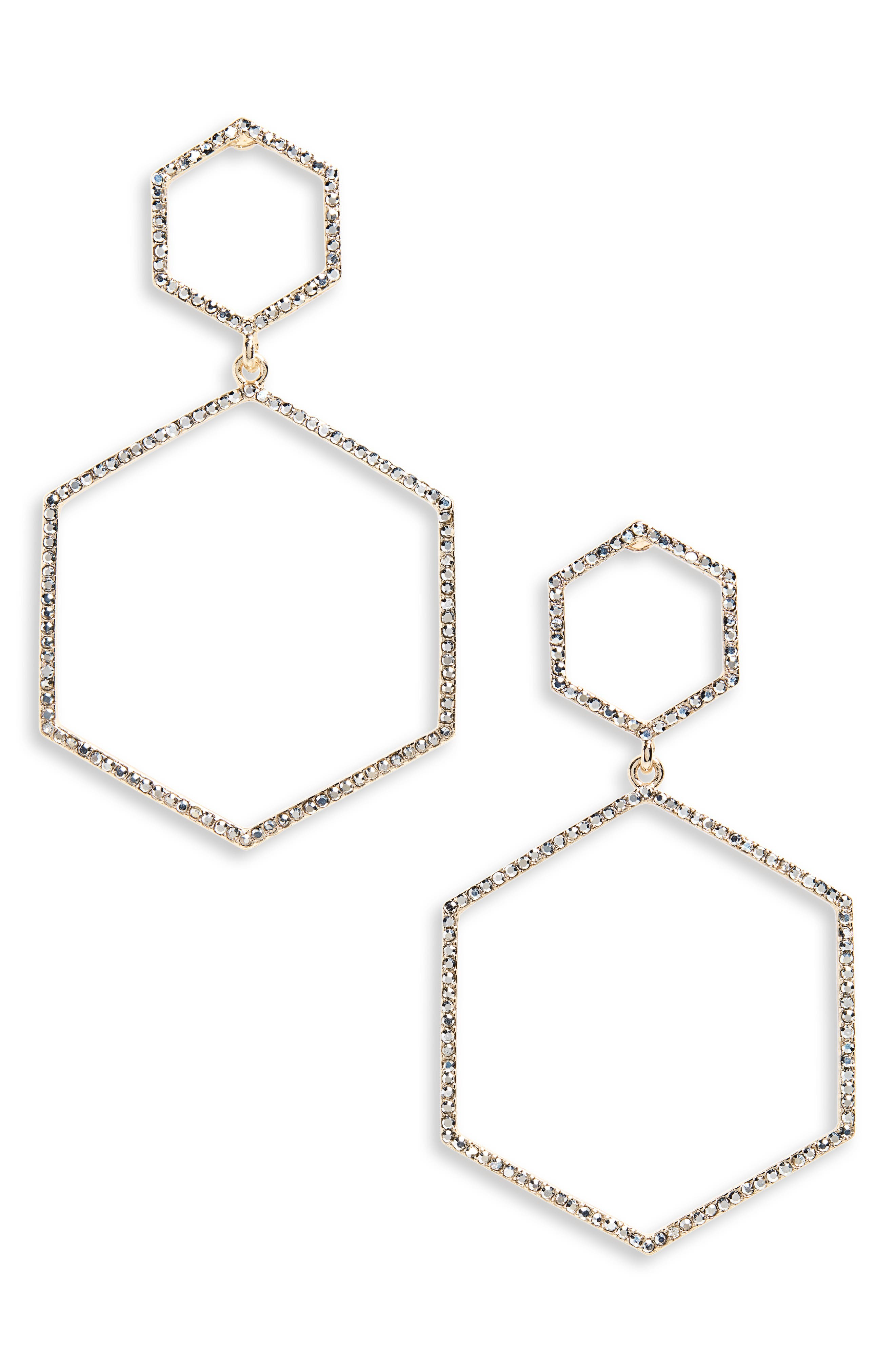 Crystal Hexagon Earrings,                         Main,                         color, GOLD