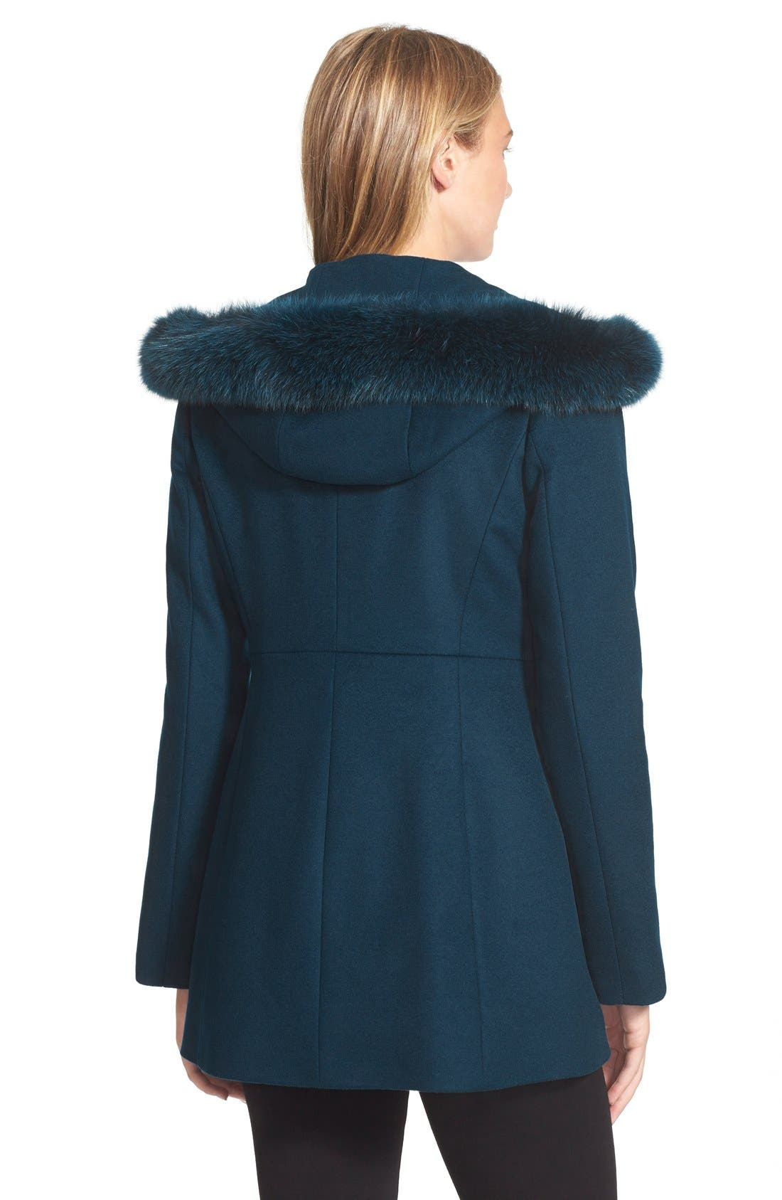 Genuine Fox Fur Trim Hooded Wool Blend Coat,                             Alternate thumbnail 11, color,