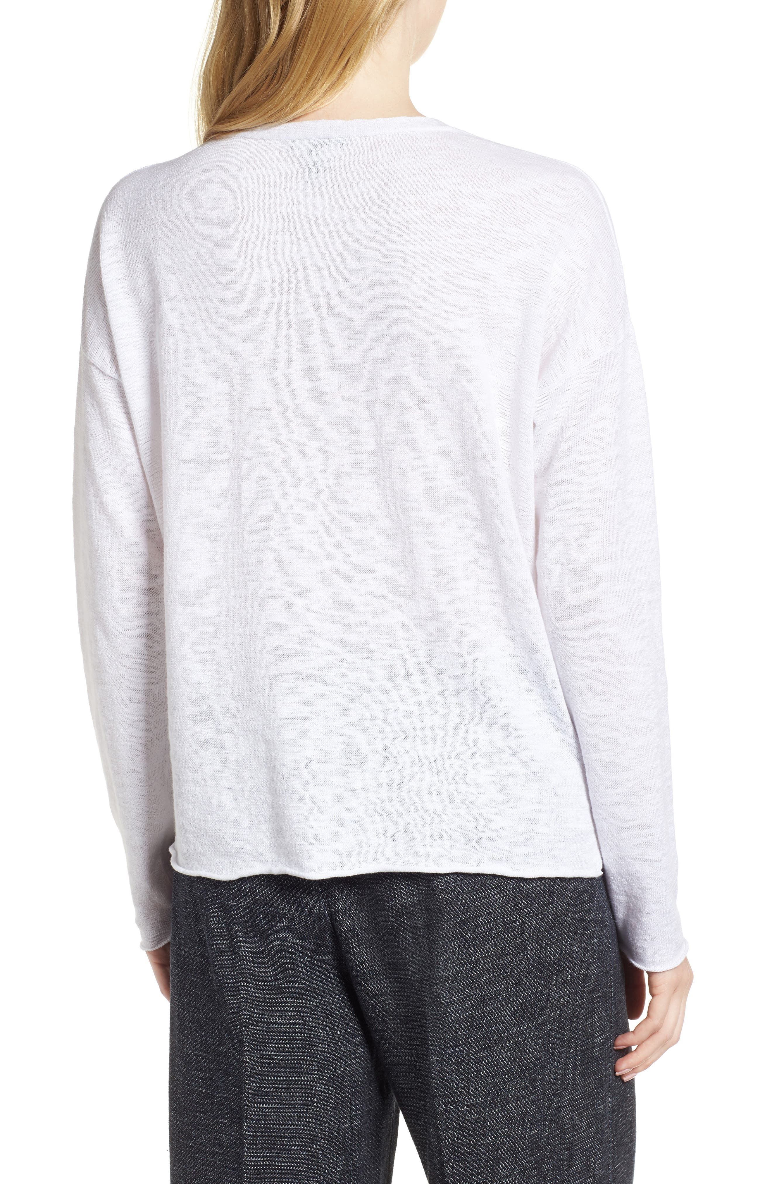 Boxy Organic Linen & Cotton Sweater,                             Alternate thumbnail 2, color,                             100