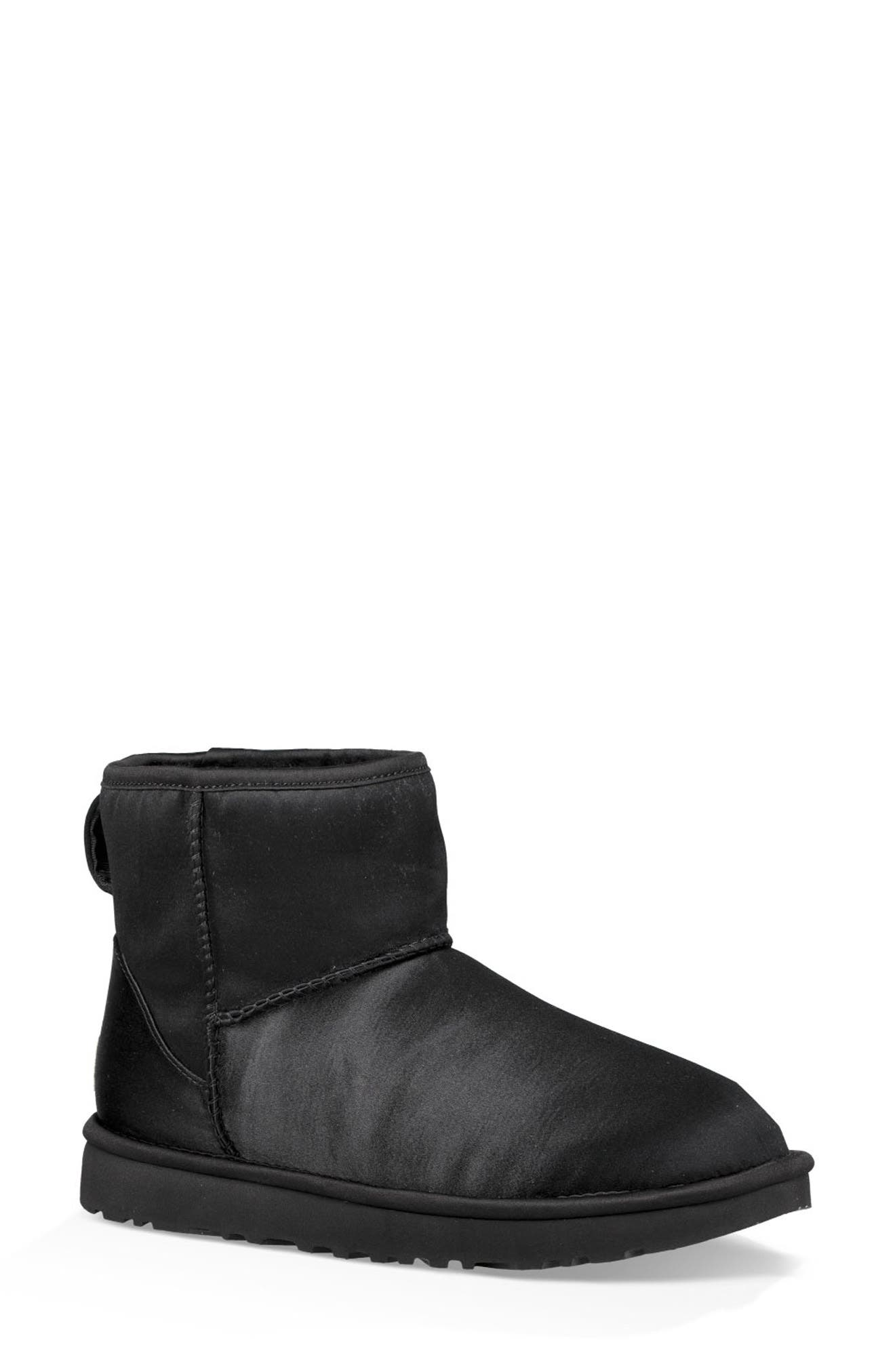 Classic Mini Genuine Shearling Lined Satin Boot,                         Main,                         color, 001