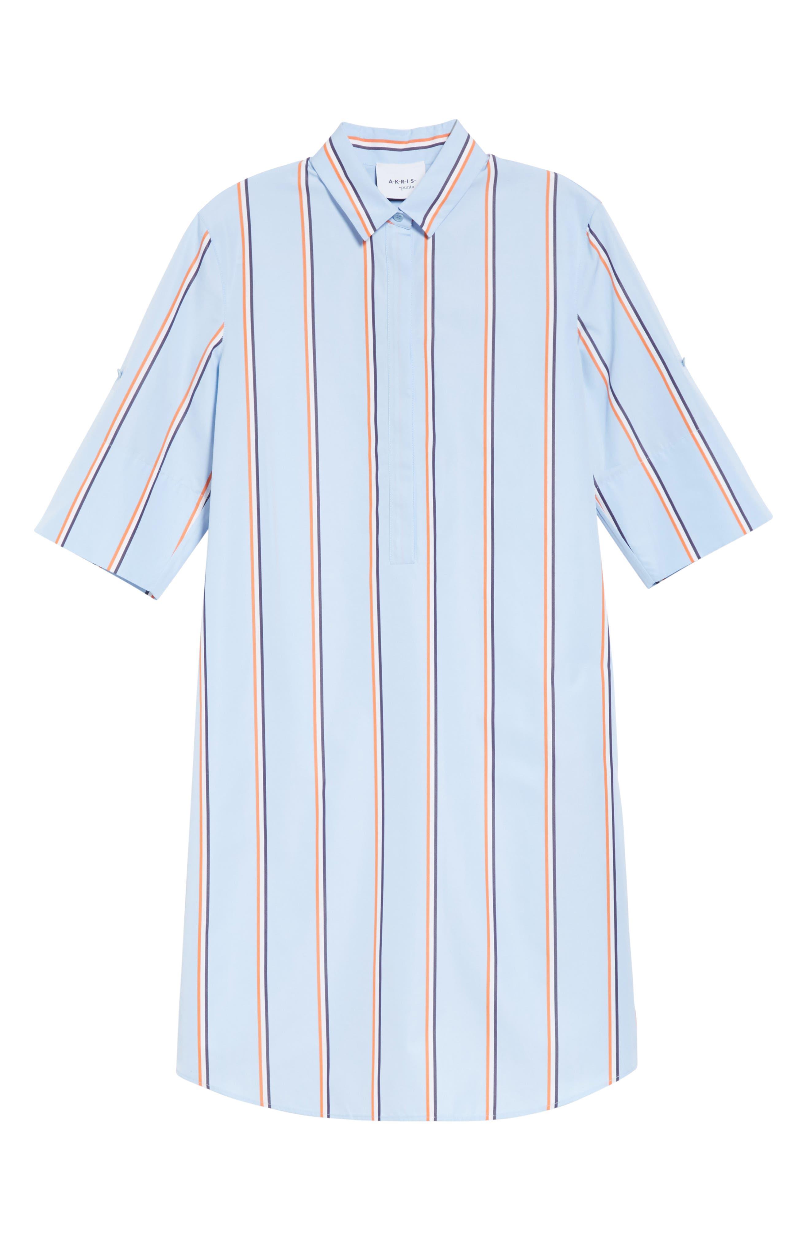 Stripe Cotton Shirtdress,                             Alternate thumbnail 3, color,                             CIELO-MULTICOLOR