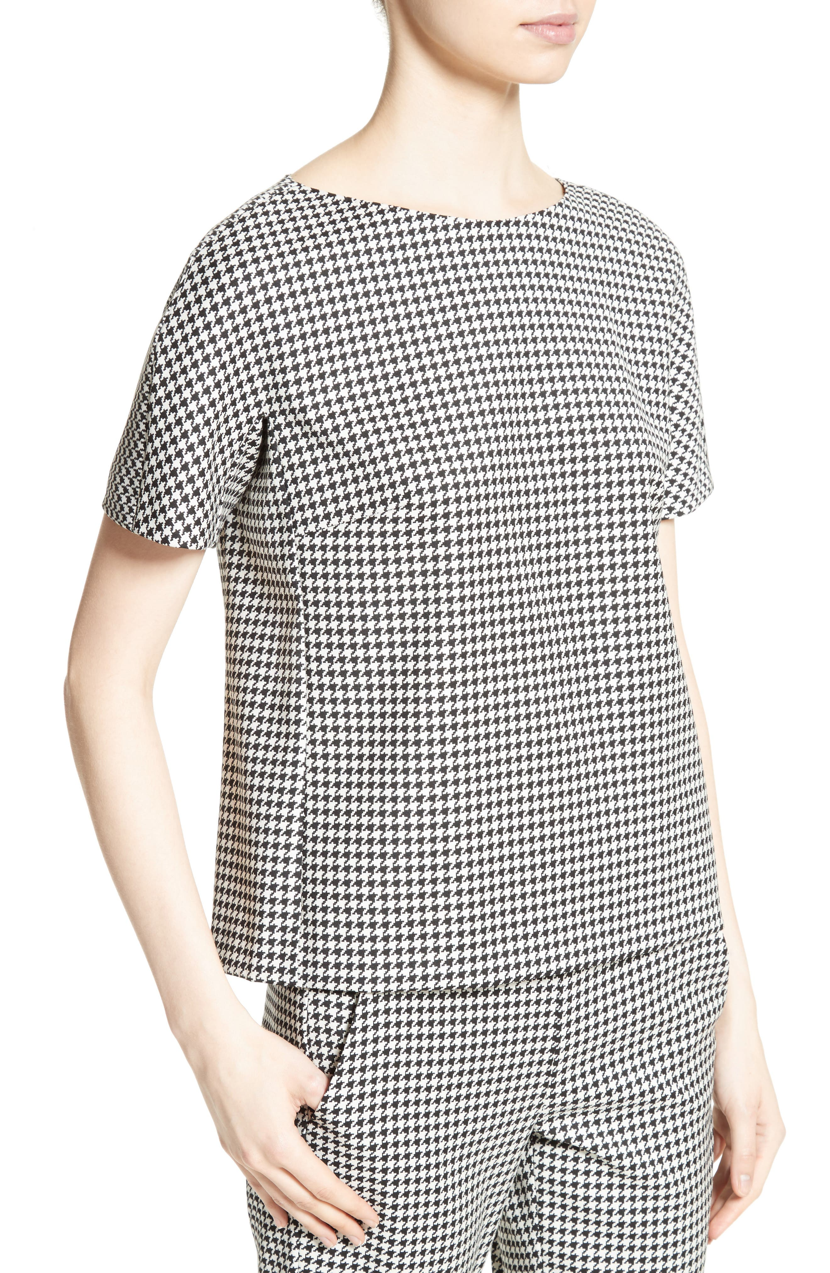 Ares Wool Blend Houndstooth Top,                             Alternate thumbnail 4, color,                             001