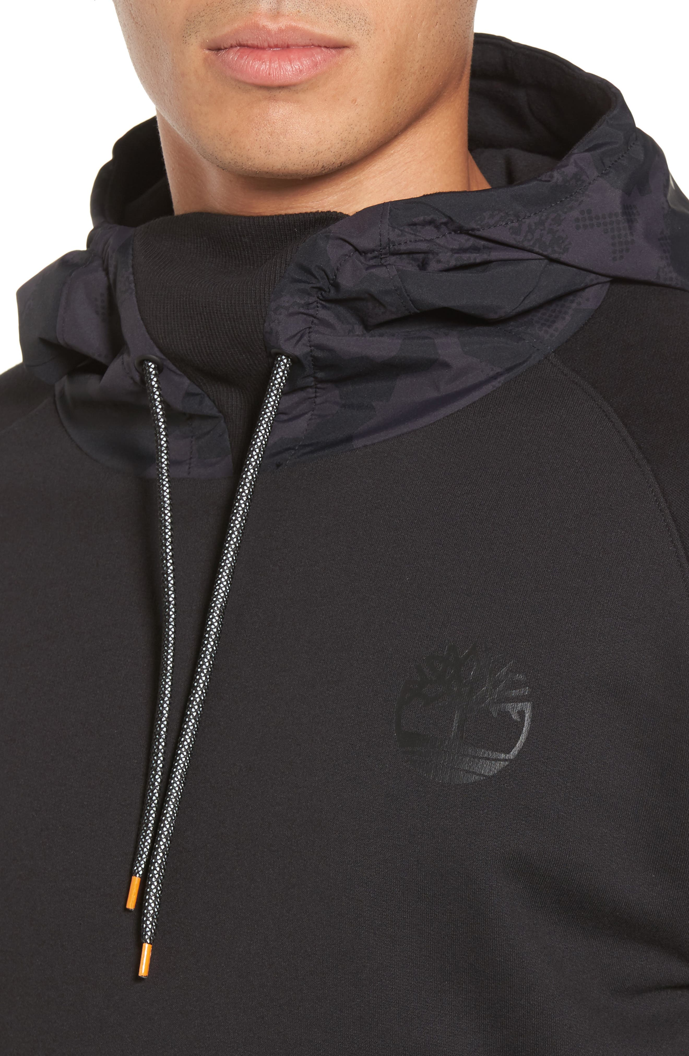 Mixed Media Oversize Hoodie,                             Alternate thumbnail 4, color,                             001