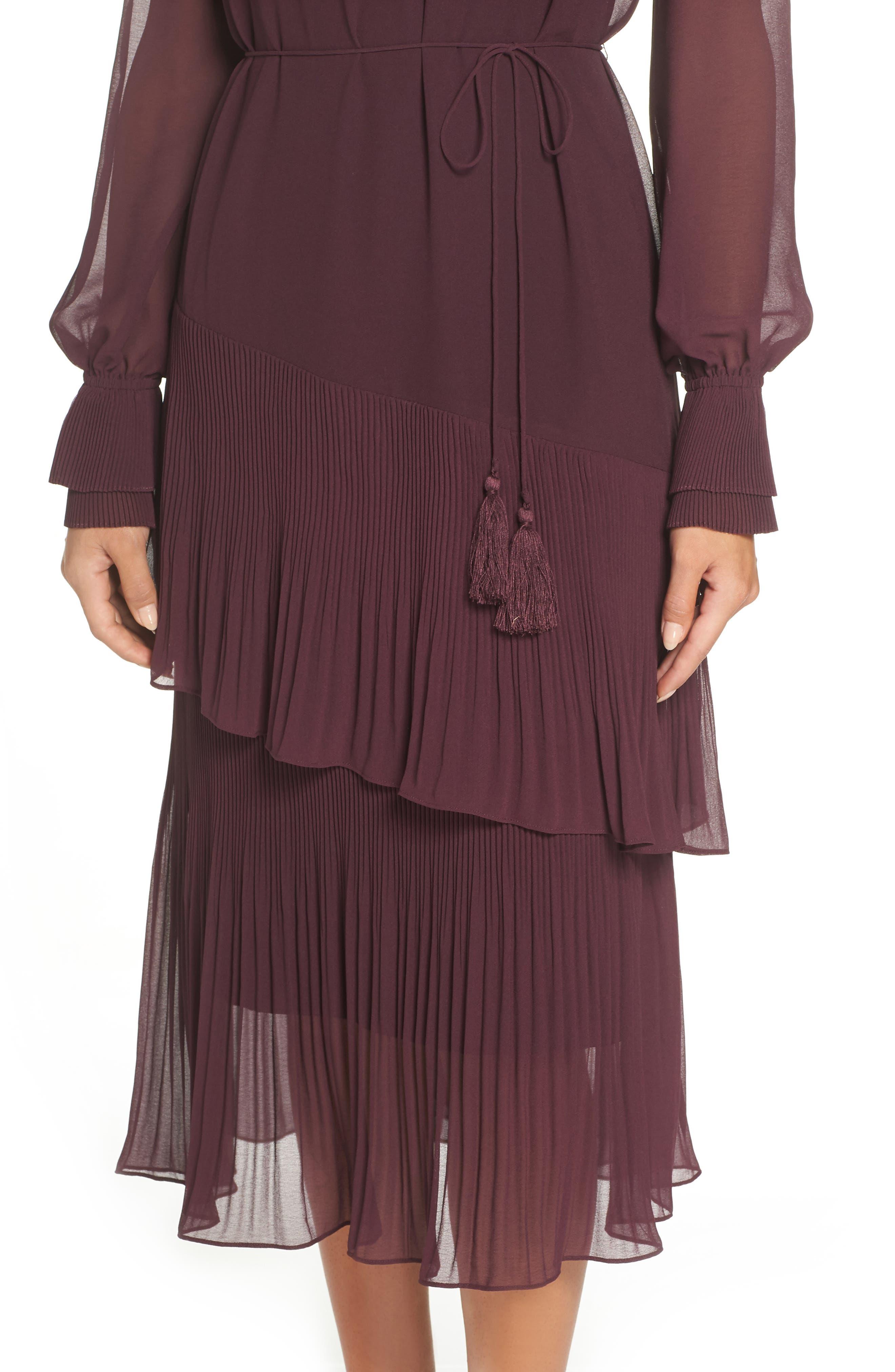Pleat Detail Midi Dress,                             Alternate thumbnail 4, color,                             BURGUNDY STEM