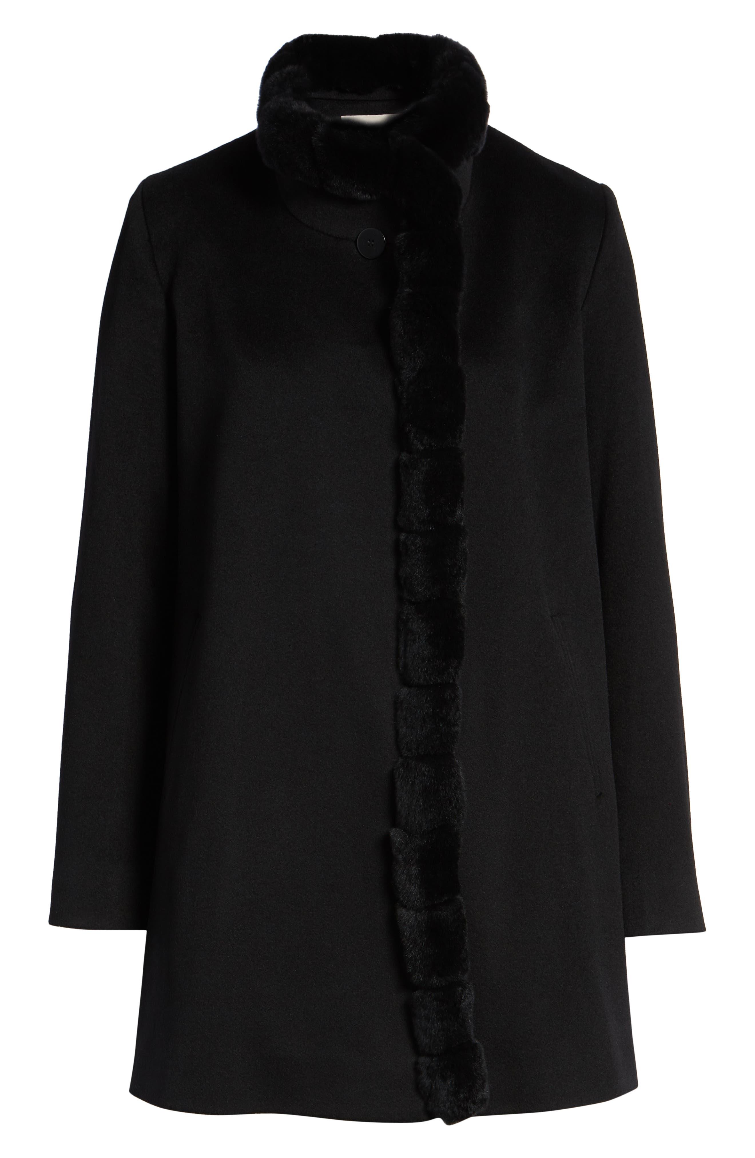 FLEURETTE,                             Loro Piana Wool Car Coat with Genuine Rex Rabbit Fur Trim,                             Alternate thumbnail 6, color,                             001