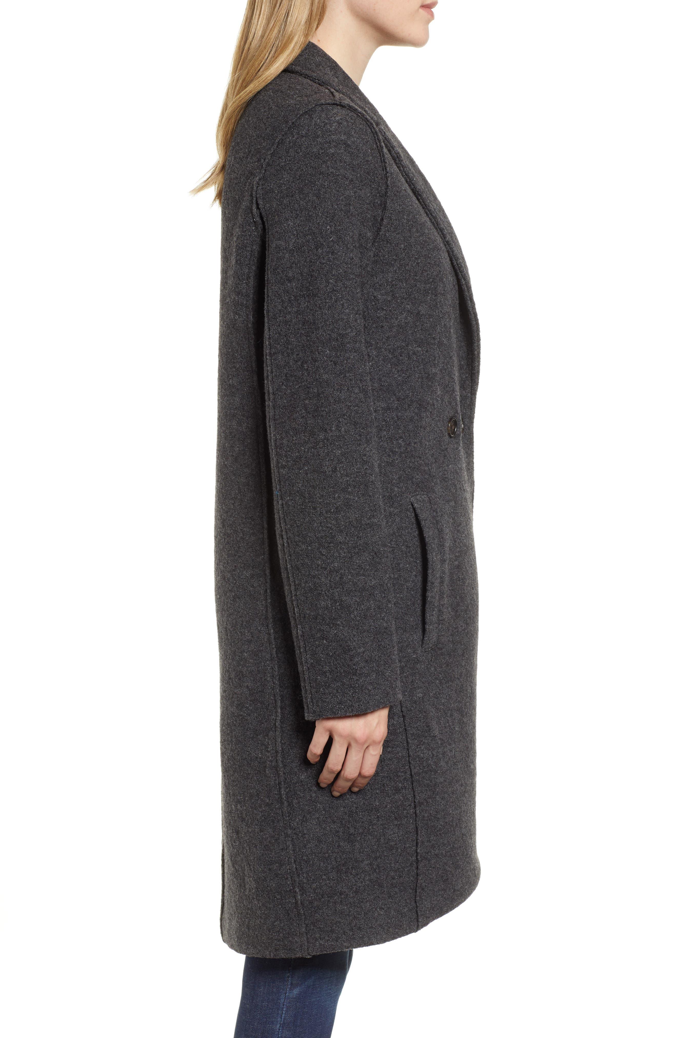 Daphne Boiled Wool Topcoat,                             Alternate thumbnail 3, color,                             022
