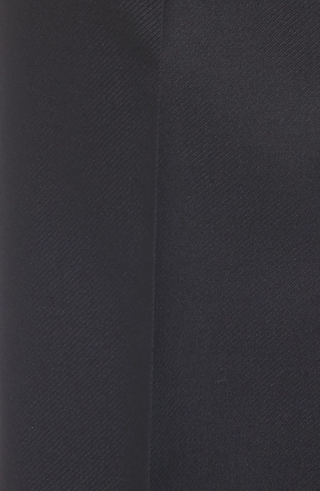 Flat Front Twill Wool Trousers,                             Alternate thumbnail 3, color,                             BLACK