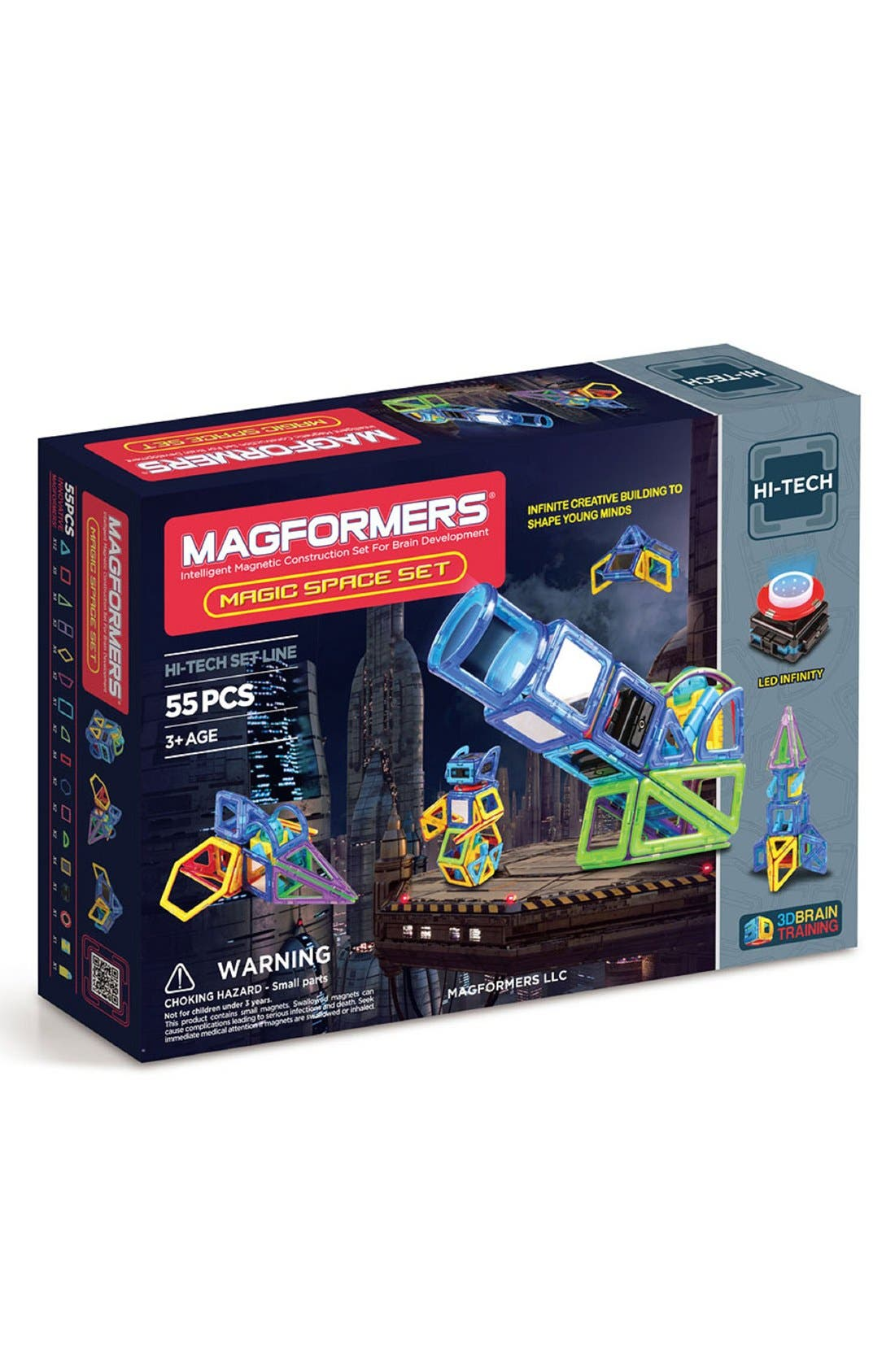 'Magic Space' Lighted Magnetic Construction Set,                         Main,                         color, Rainbow