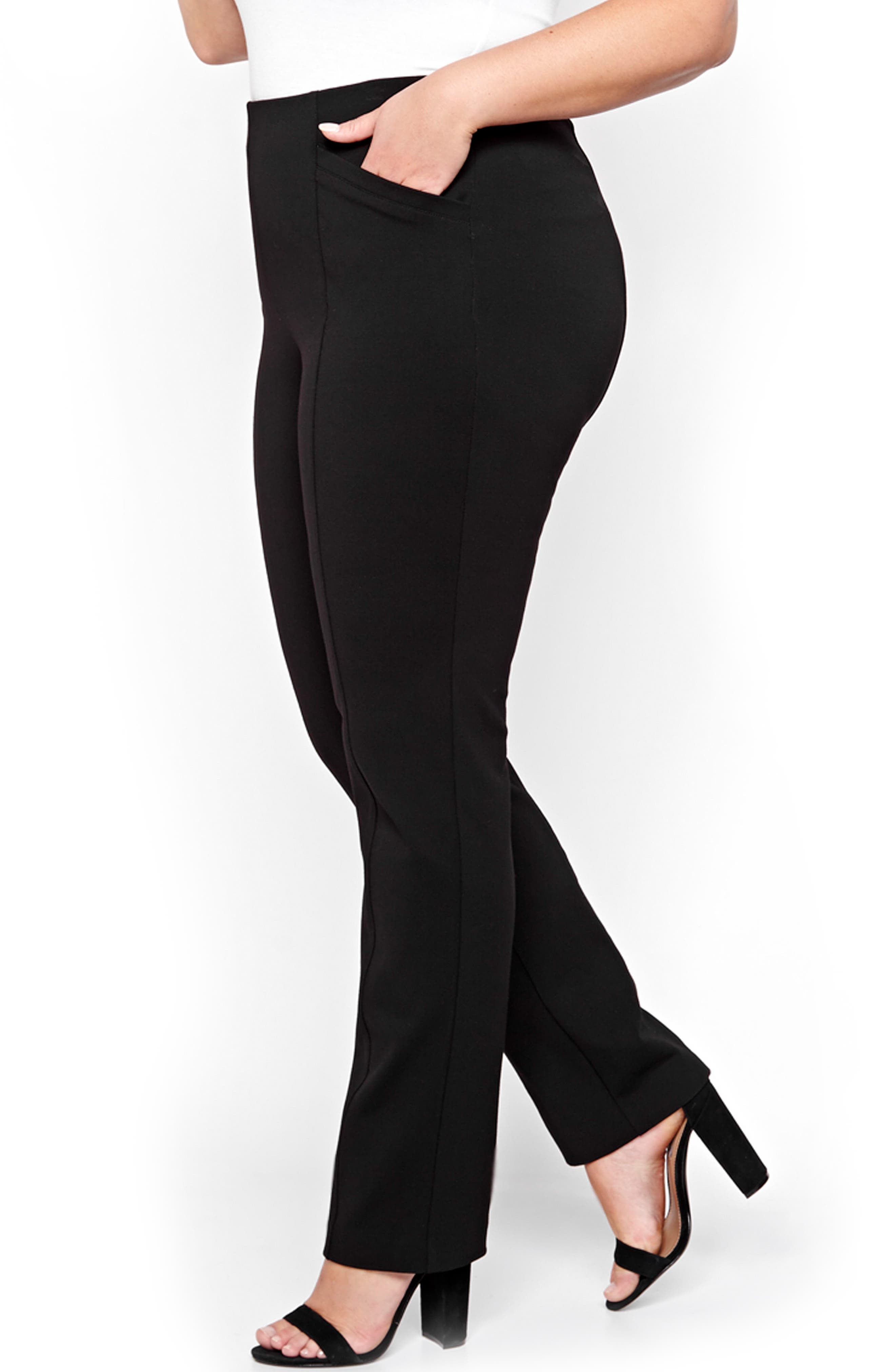 Taylor Straight Leg Ponte Pants,                         Main,                         color, 001