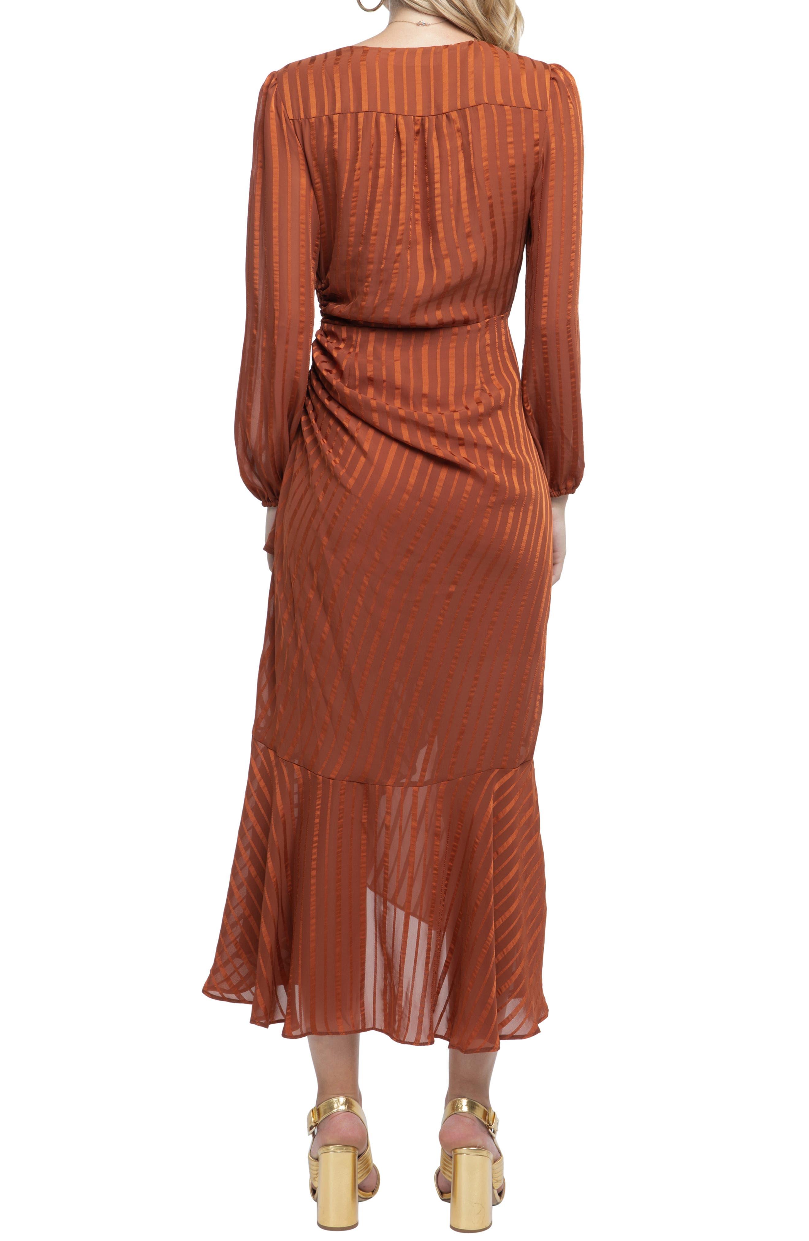 Side Cinched Ruffle Hem Dress,                             Alternate thumbnail 2, color,                             RUST