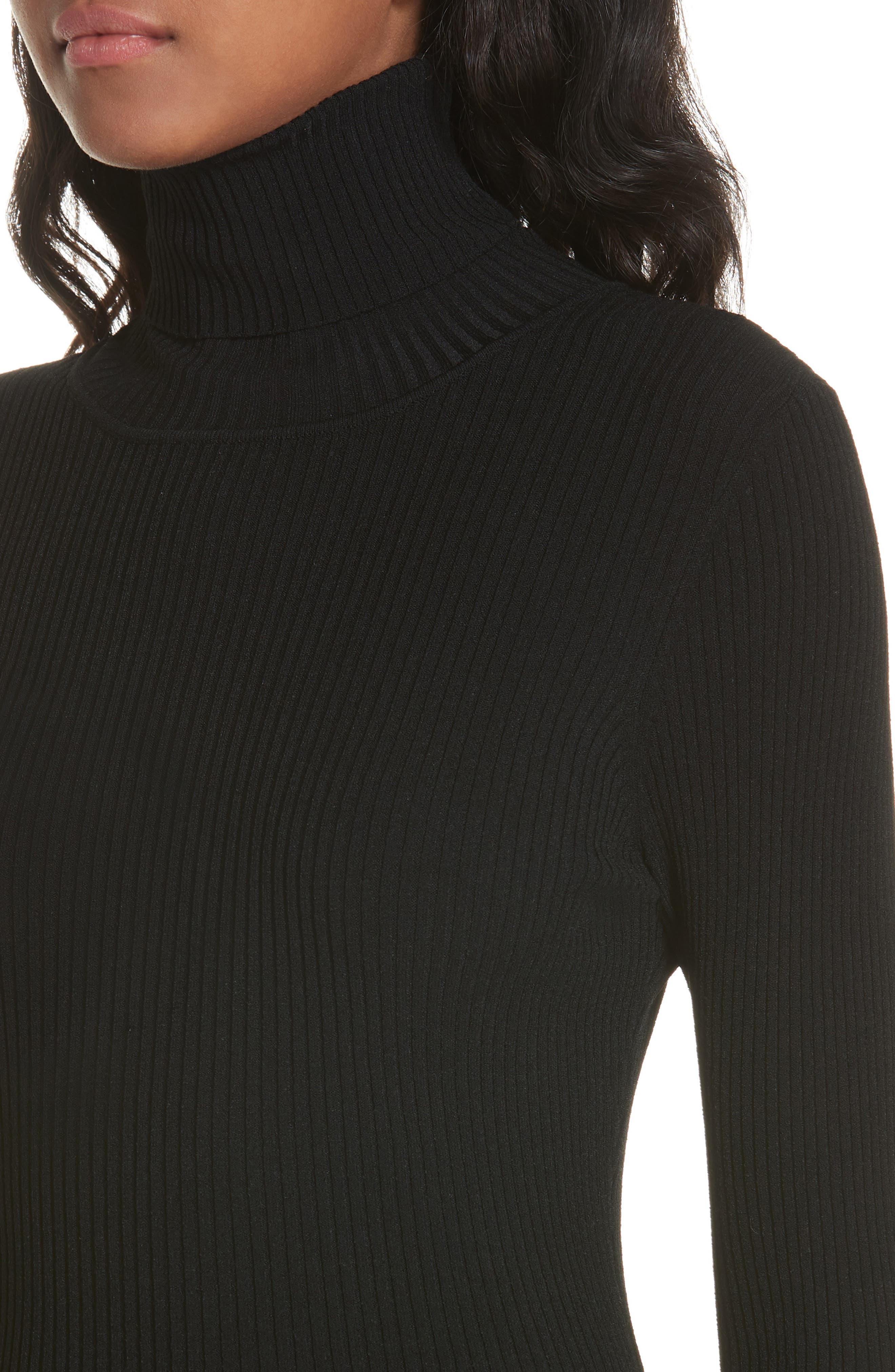 MILLY,                             Ribbed Turtleneck Sweater,                             Alternate thumbnail 4, color,                             001