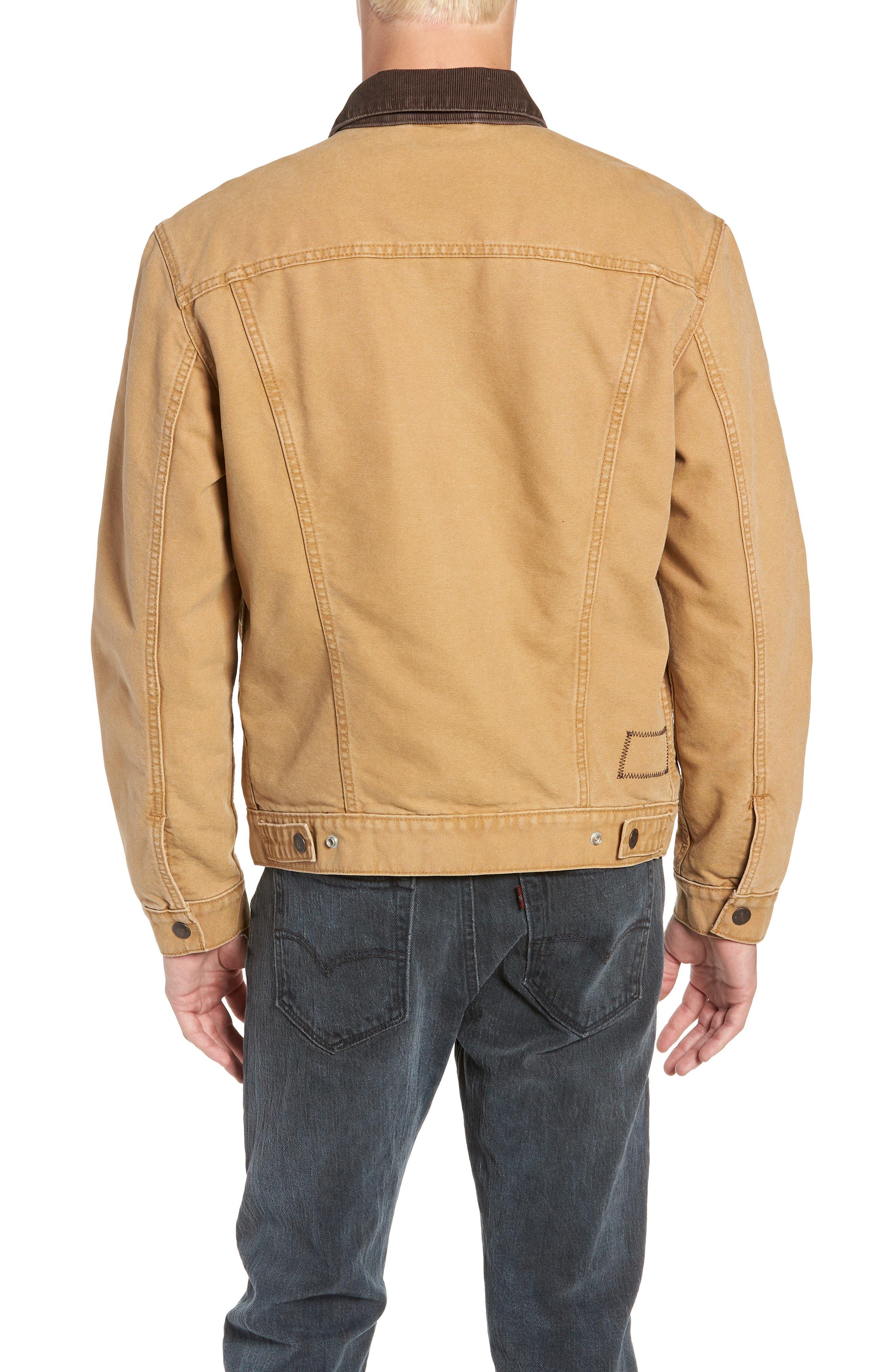 x Justin Timberlake Canvas Trucker Jacket,                             Alternate thumbnail 3, color,                             DIJON