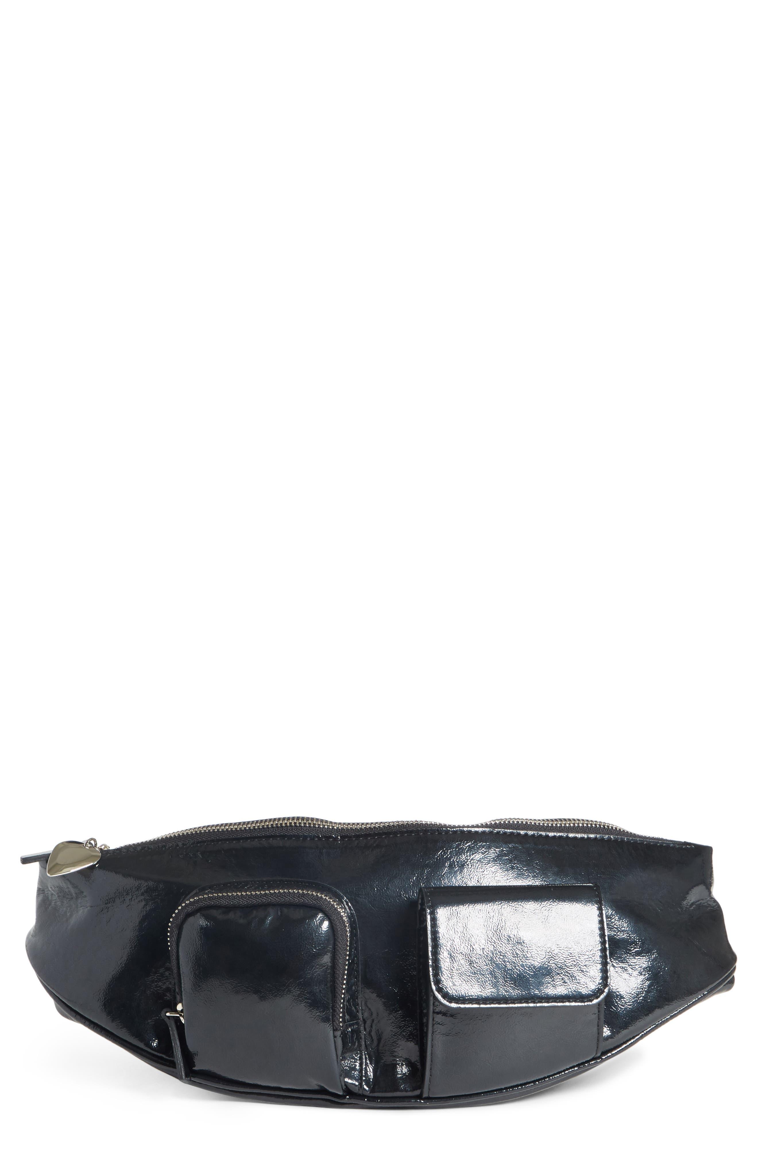 AVEC LA TROUPE Major Convertible Belt Bag - Black in Black Patent