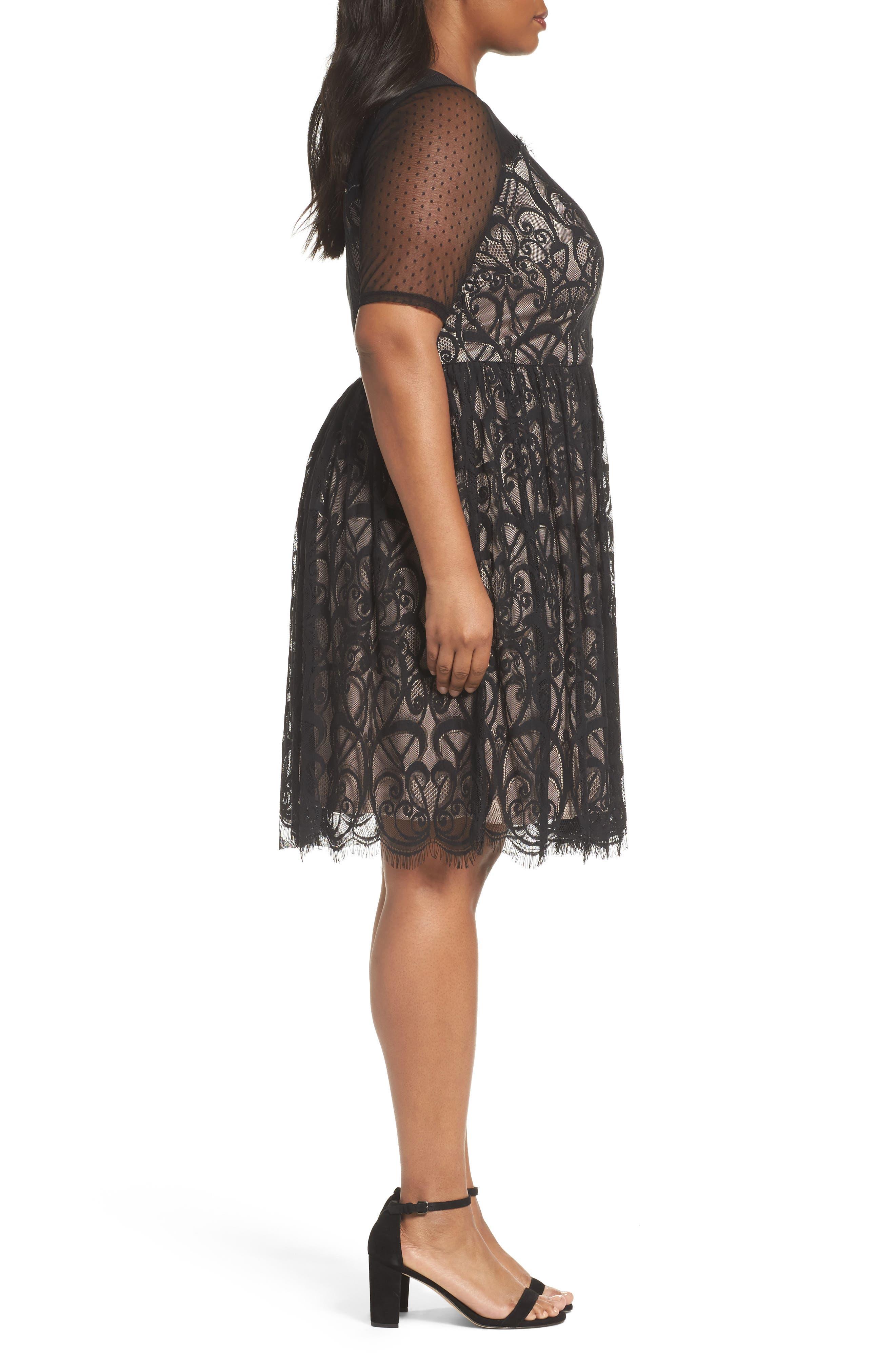 Illusion Lace Fit & Flare Dress,                             Alternate thumbnail 3, color,                             BLACK