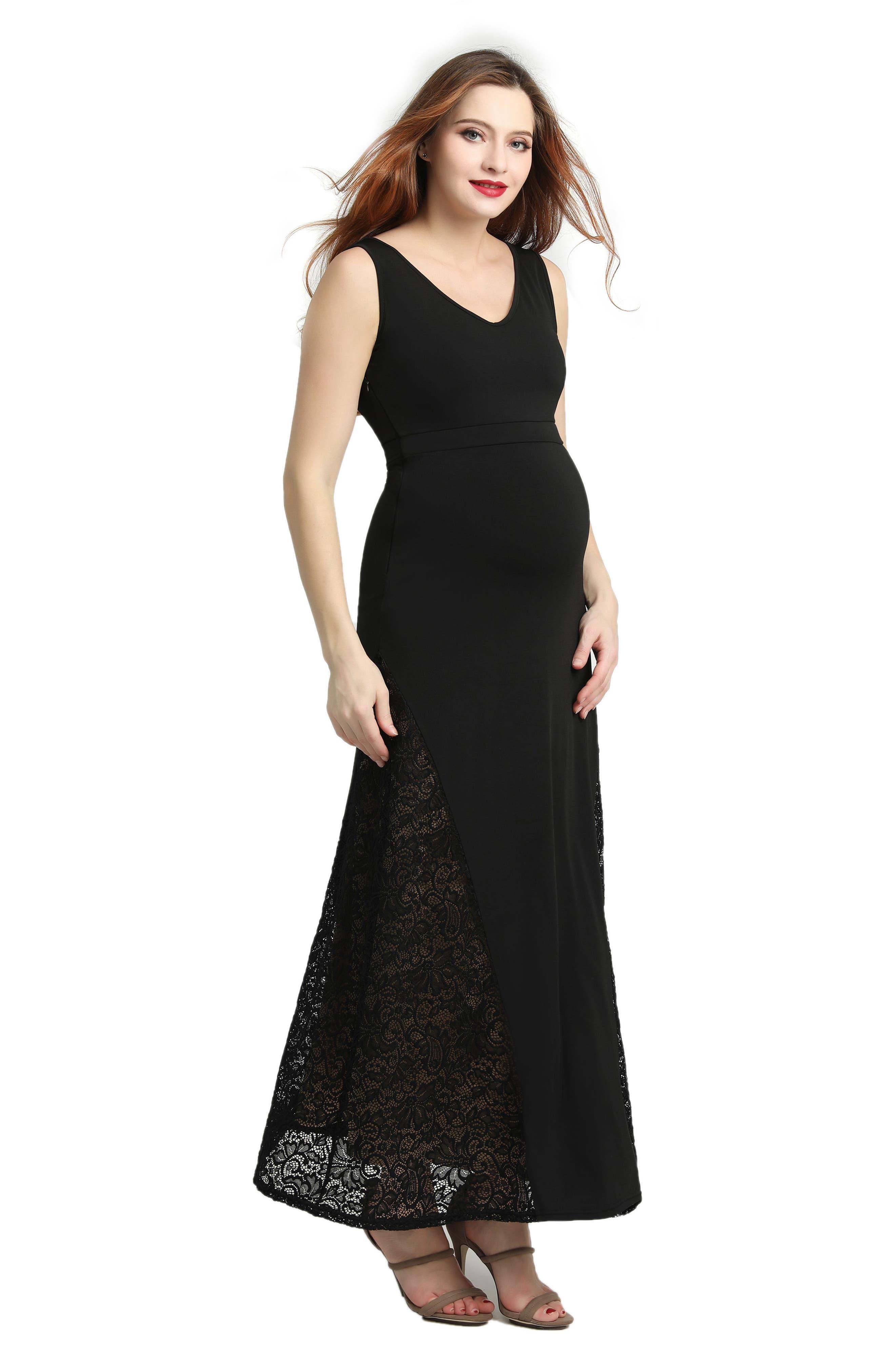 Elizabeth Lace Maternity Maxi Dress,                             Alternate thumbnail 5, color,                             BLACK