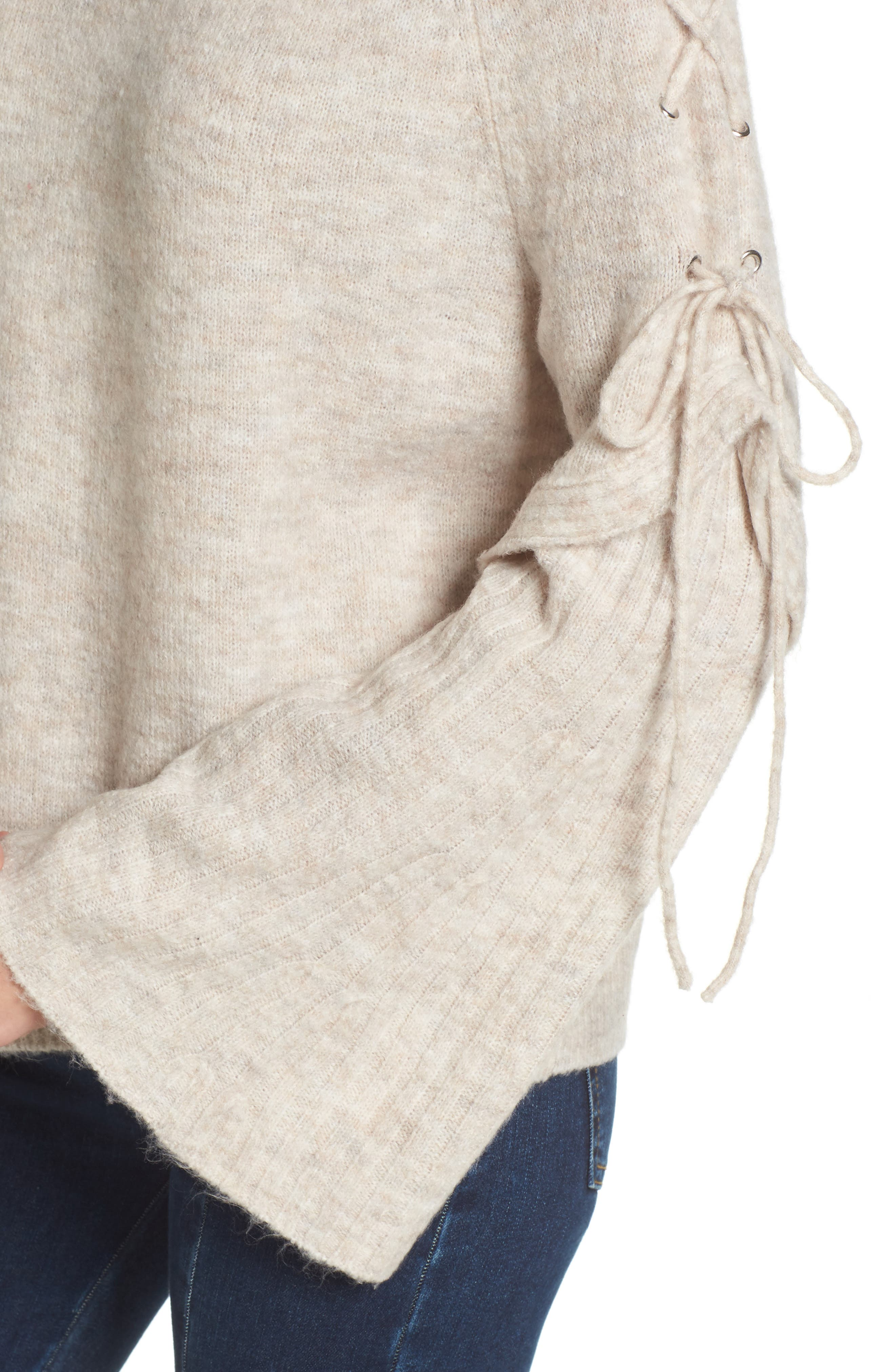Lace Up Shoulder Sweater,                             Alternate thumbnail 4, color,                             260