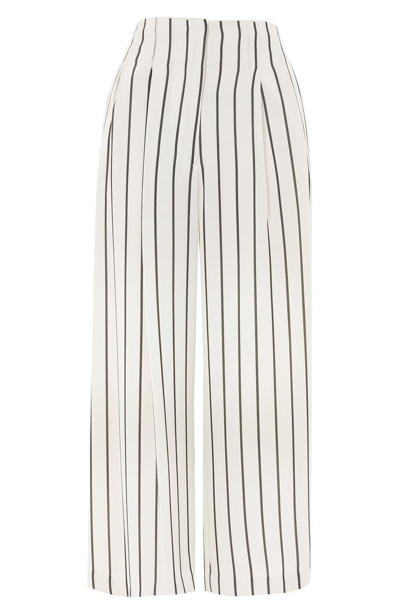 Stripe Crop Wide Leg Trousers,                             Alternate thumbnail 4, color,                             001